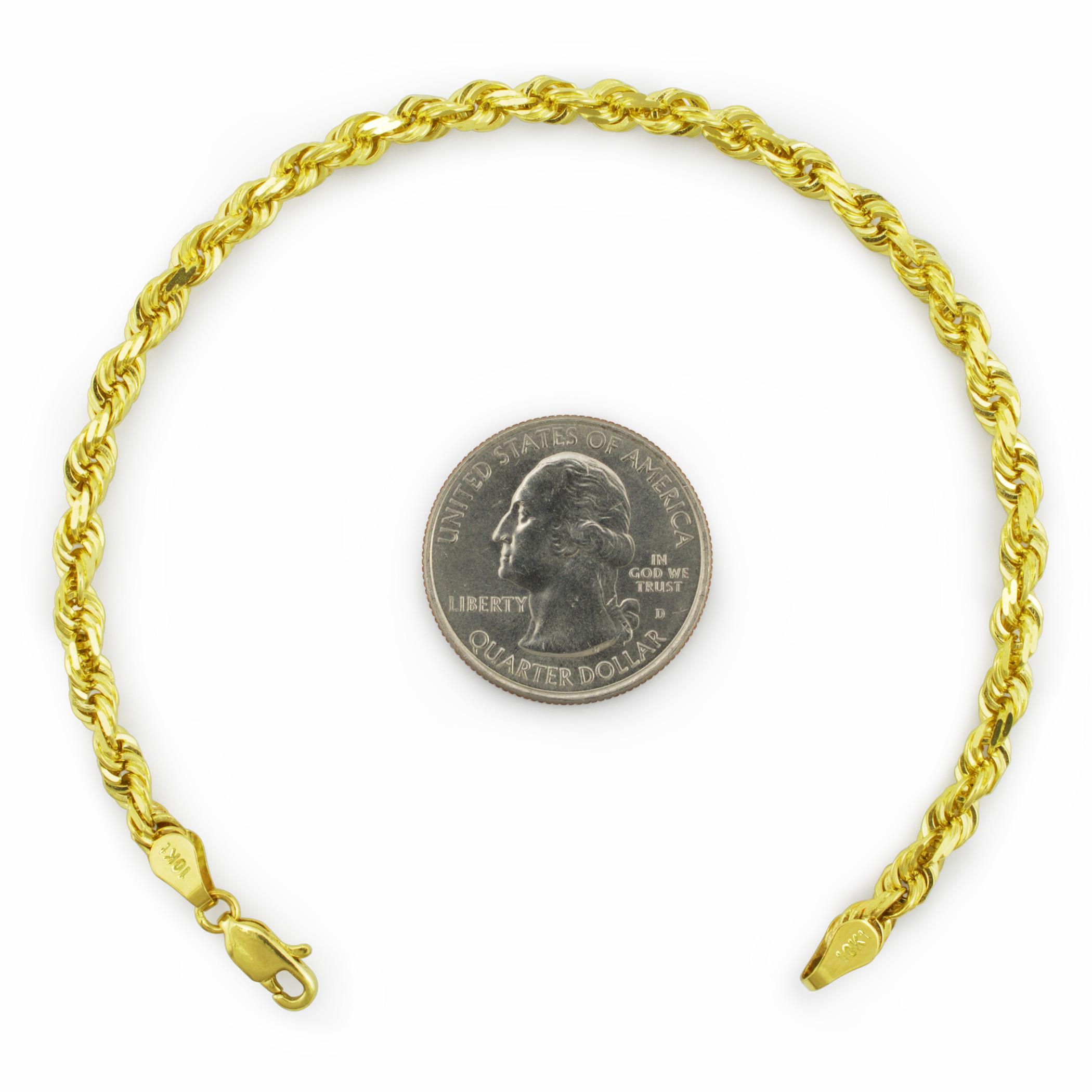 "Chain Link Women Men 14K Yellow Gold Hollow Diamond Cut Rope Bracelet 2mm 7-8/"""
