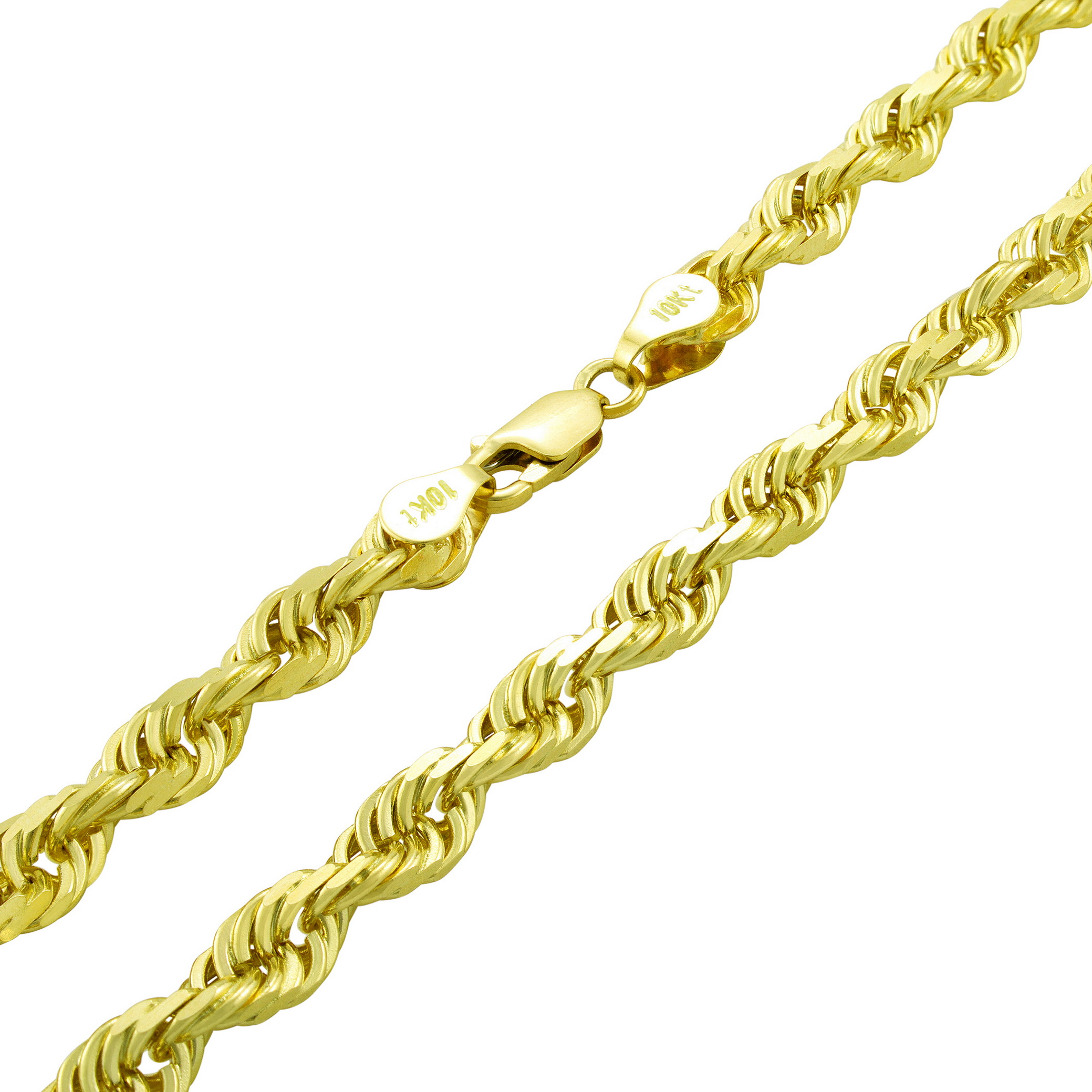 Solid-10k-Yellow-Gold-Mens-Thick-6mm-Diamond-Cut-Rope-Chain-Necklace-20-034-30-034 thumbnail 17