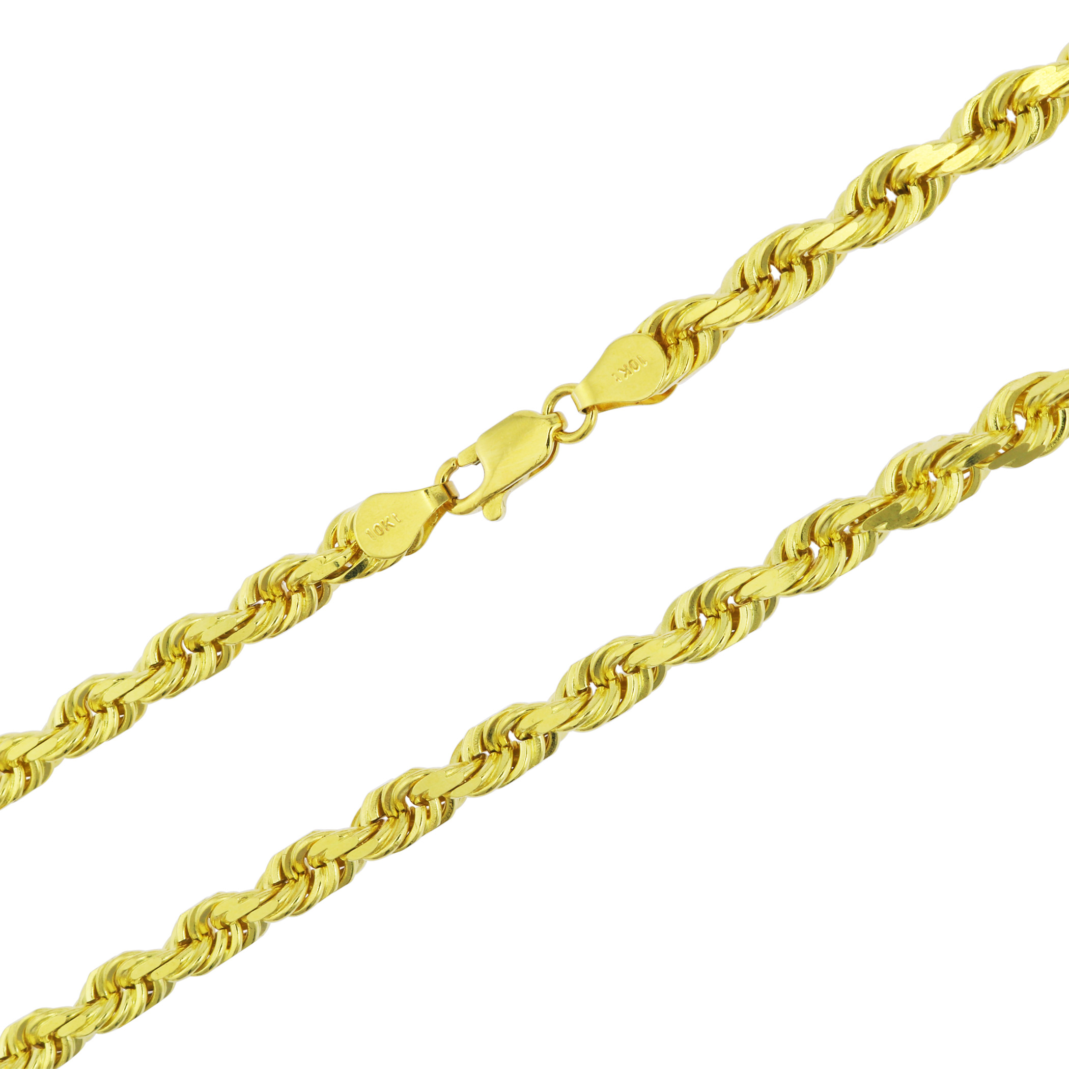 Solid-10k-Yellow-Gold-Mens-Thick-6mm-Diamond-Cut-Rope-Chain-Necklace-20-034-30-034 thumbnail 21