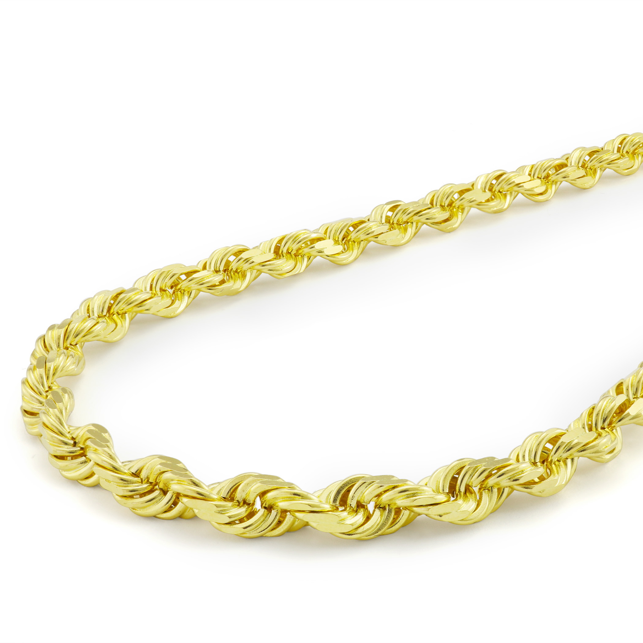 Solid-10k-Yellow-Gold-Mens-Thick-6mm-Diamond-Cut-Rope-Chain-Necklace-20-034-30-034 thumbnail 23