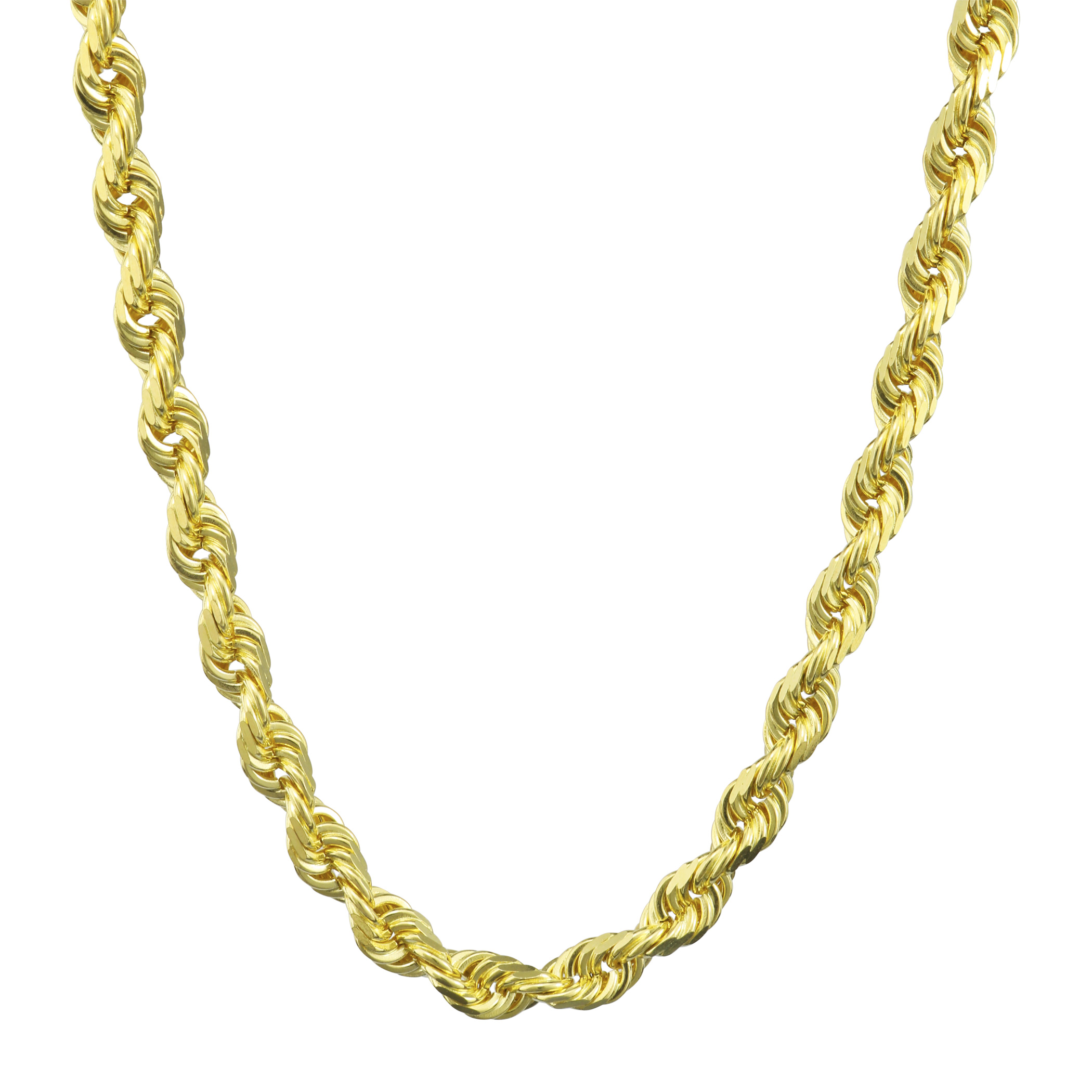 Solid-10k-Yellow-Gold-Mens-Thick-6mm-Diamond-Cut-Rope-Chain-Necklace-20-034-30-034 thumbnail 20