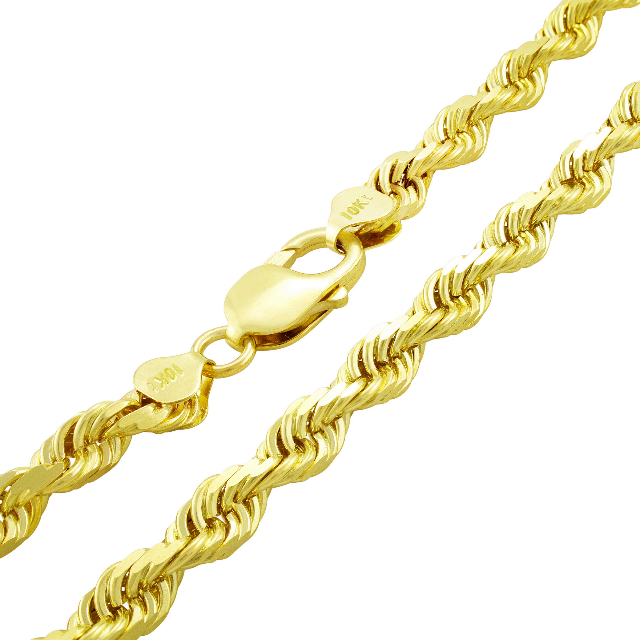 REAL 10K Yellow Gold 6mm WIDE Italian Diamond Cut Rope Chain Link Necklace 22″