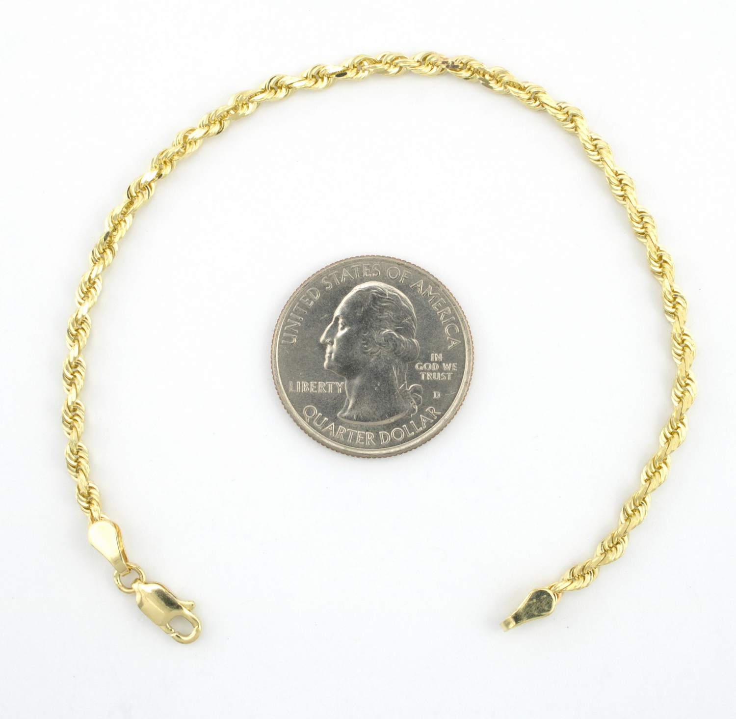10K-Yellow-Gold-Real-3mm-Diamond-Cut-Rope-Chain-Bracelet-Lobster-Clasp-7-034-8-034-9-034 thumbnail 14