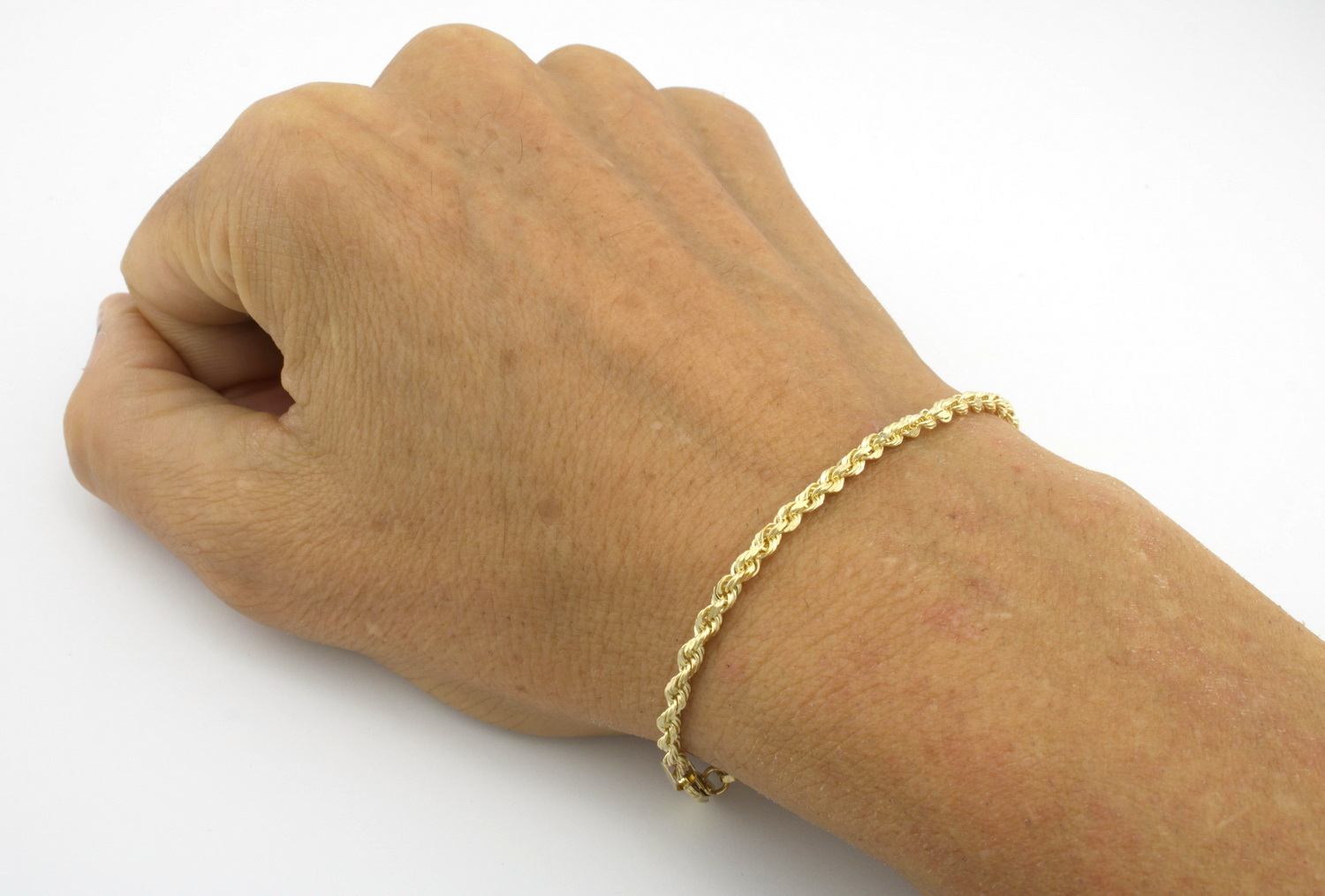 10K-Yellow-Gold-Real-3mm-Diamond-Cut-Rope-Chain-Bracelet-Lobster-Clasp-7-034-8-034-9-034 thumbnail 13
