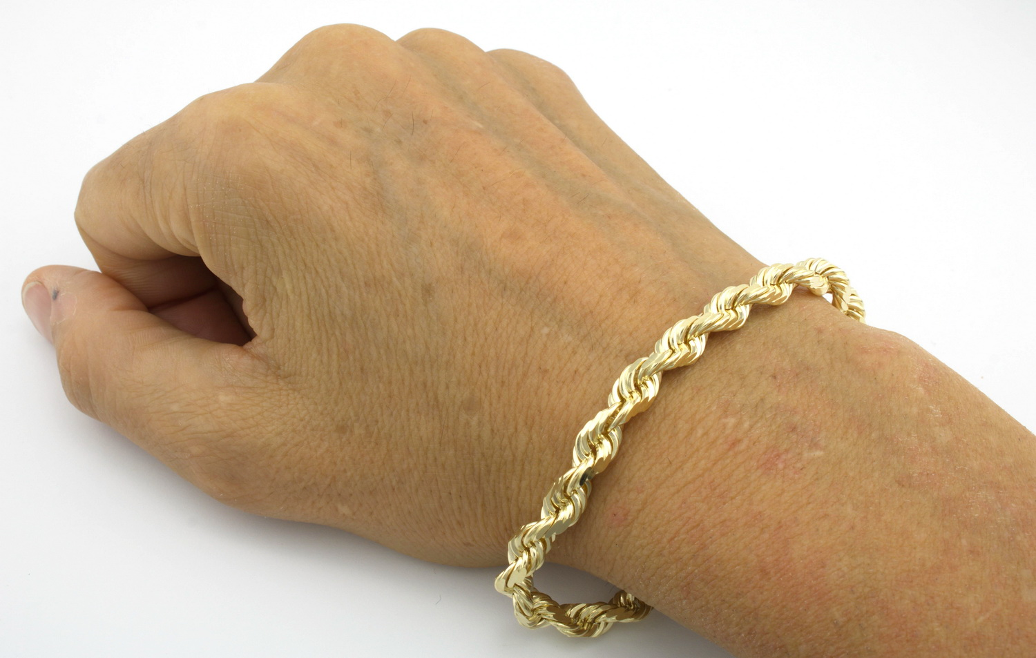 mens gold rope bracelet 14k yellow gold 7mm italian cut solid rope chain 1126