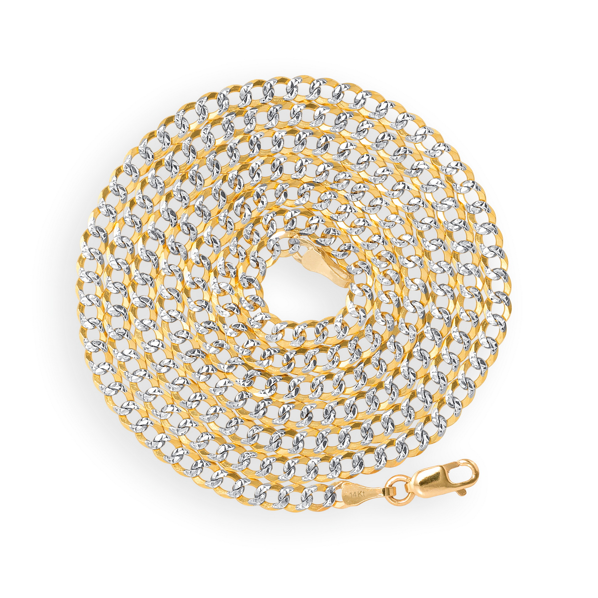 """Solid 14k Yellow Gold 3mm Diamond Cut Pave Curb Cuban Chain Necklace 16/"""" 30/"""""""
