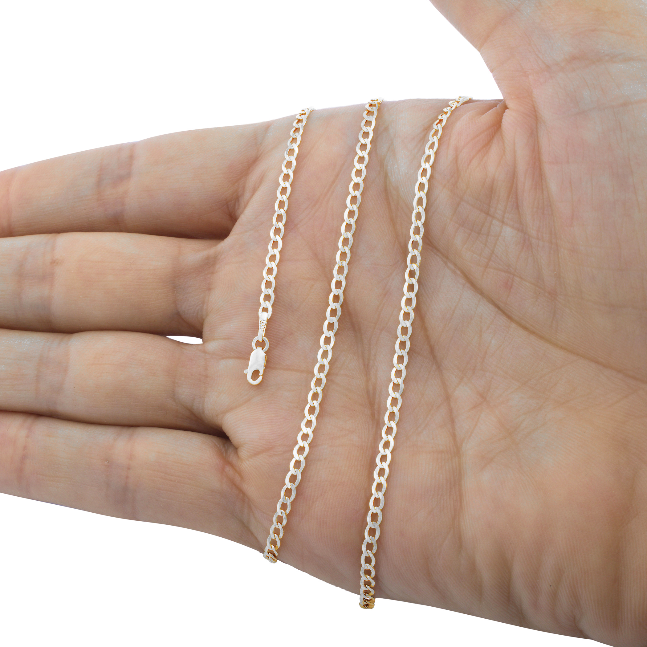 14K-White-Gold-Solid-Mens-Womens-2mm-8-5mm-Cuban-Chain-Pendant-Necklace-16-034-30-034 thumbnail 13