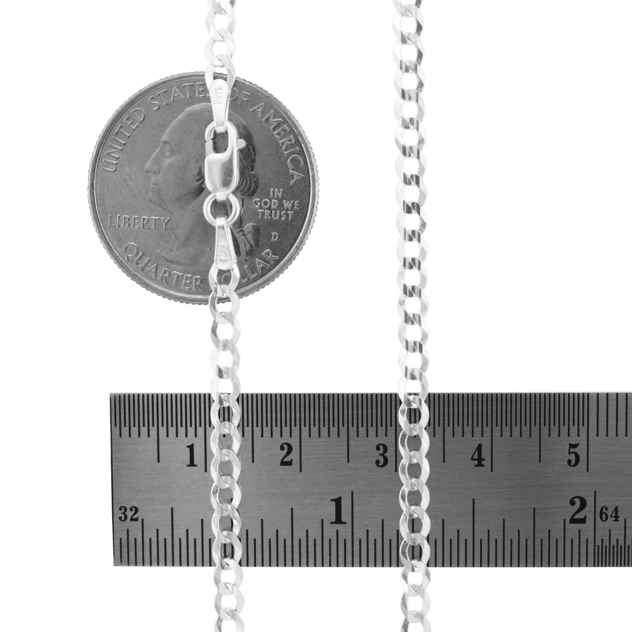 14K-White-Gold-Solid-Mens-Womens-2mm-8-5mm-Cuban-Chain-Pendant-Necklace-16-034-30-034 thumbnail 18