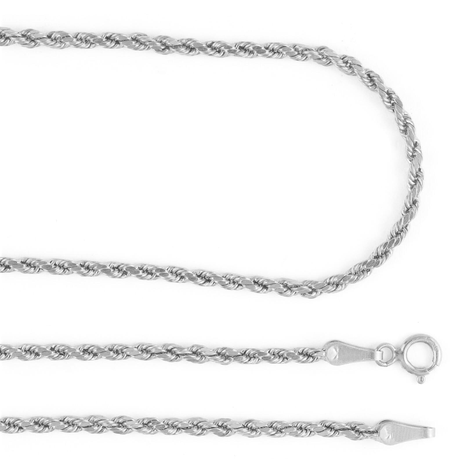 14K-White-Gold-Womens-1-5mm-Thin-Diamond-Cut-Rope-Chain-Pendant-Necklace-14-034-26-034 thumbnail 12