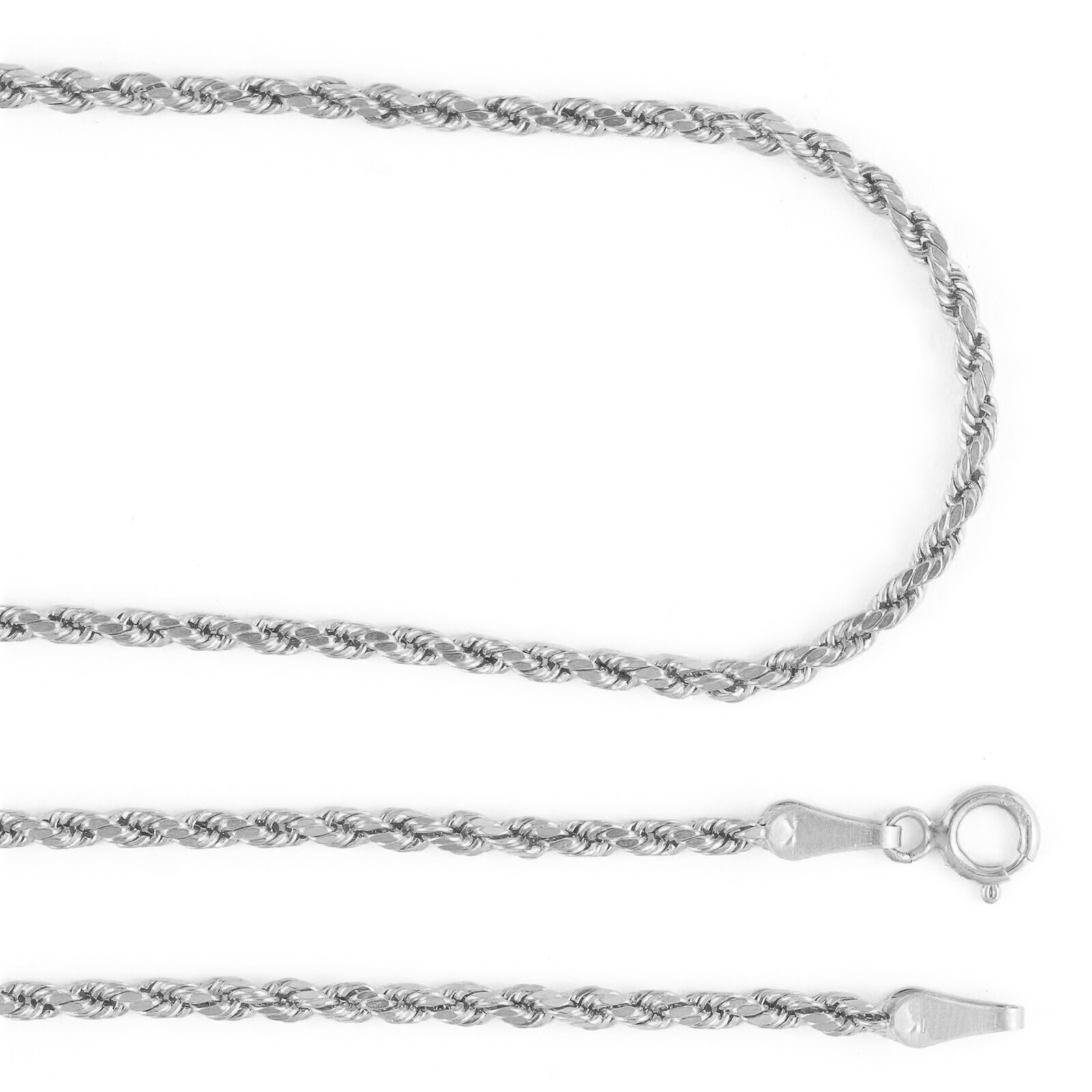 """14K White Gold Womens Dainty 1.8mm Diamond Cut Rope Chain Pendant Necklace 18/"""""""