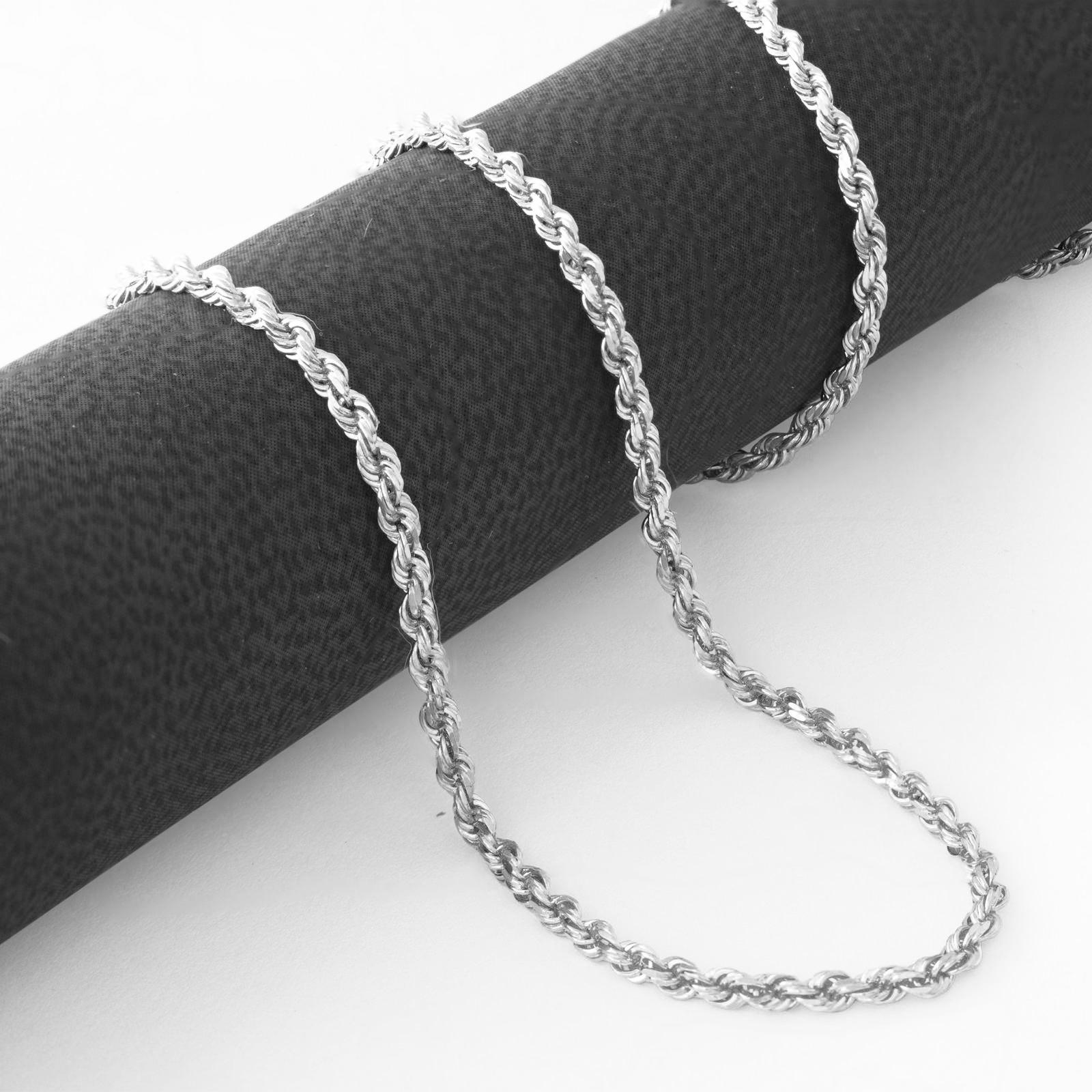 14K-White-Gold-Womens-1-5mm-Thin-Diamond-Cut-Rope-Chain-Pendant-Necklace-14-034-26-034 thumbnail 15