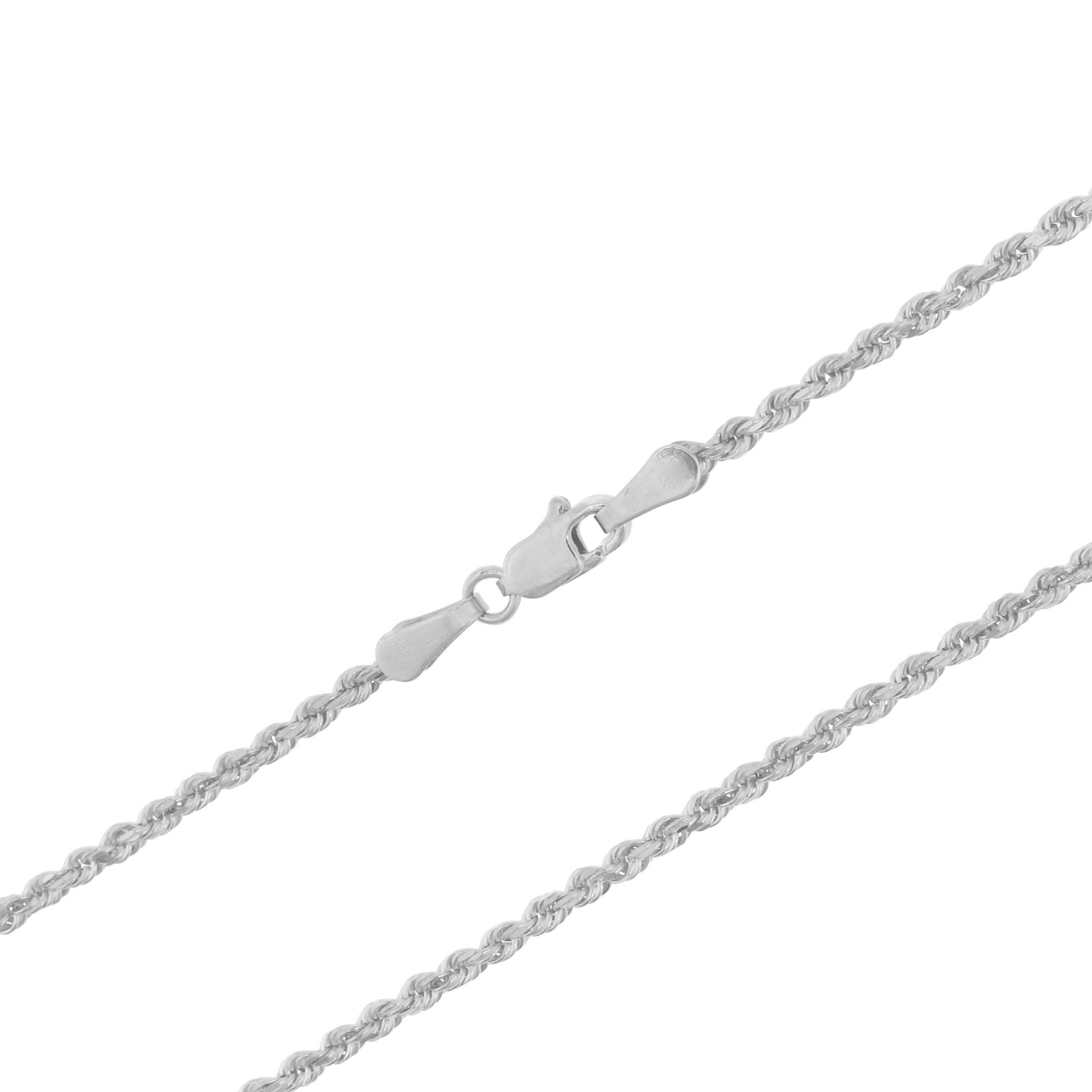 14K-White-Gold-Italian-2-5mm-Diamond-Cut-Rope-Chain-Pendant-Necklace-14-034-30-034 thumbnail 21