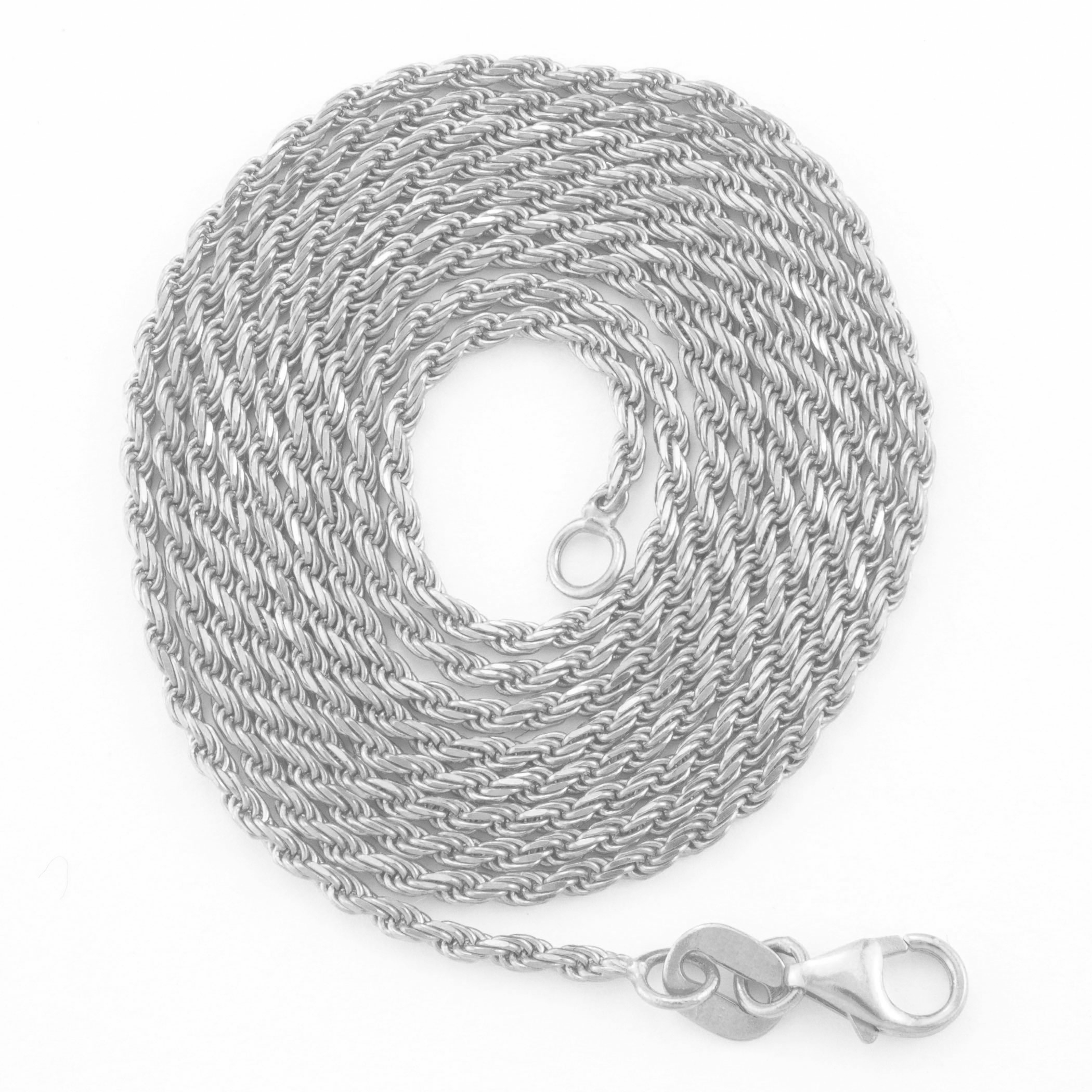 14K-White-Gold-Italian-2-5mm-Diamond-Cut-Rope-Chain-Pendant-Necklace-14-034-30-034 thumbnail 22