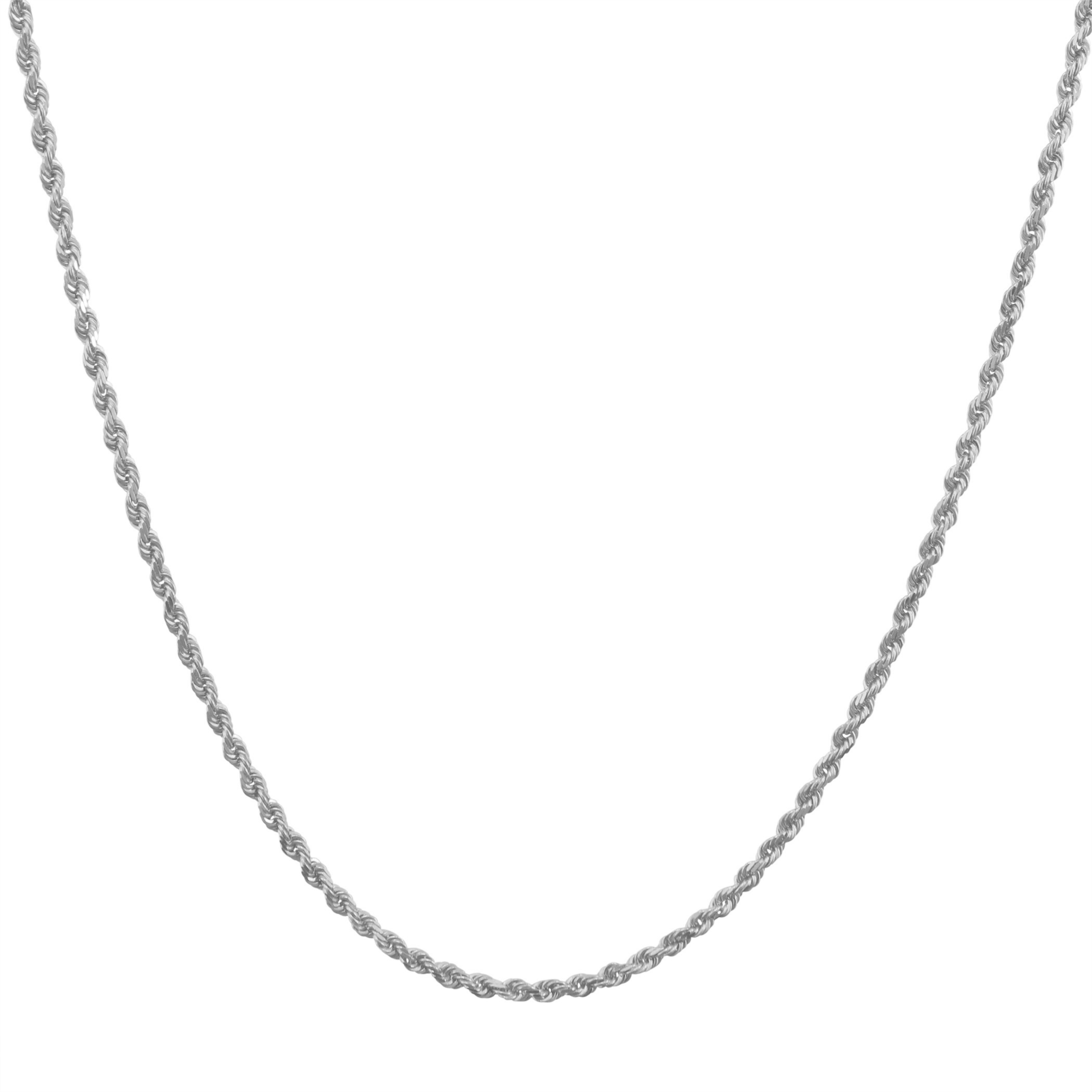 14K-White-Gold-Italian-2-5mm-Diamond-Cut-Rope-Chain-Pendant-Necklace-14-034-30-034 thumbnail 14
