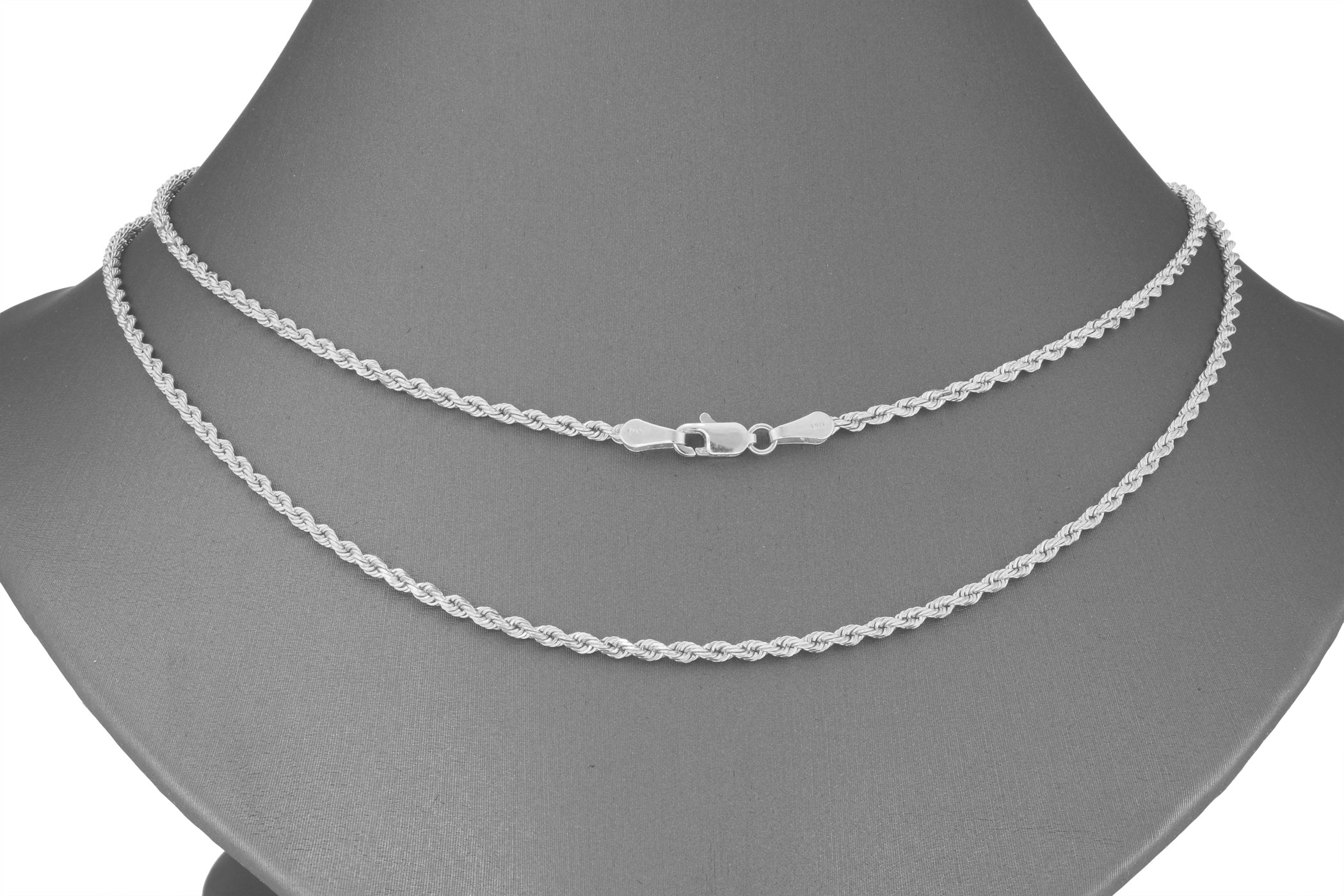 14K-White-Gold-Italian-2-5mm-Diamond-Cut-Rope-Chain-Pendant-Necklace-14-034-30-034 thumbnail 17
