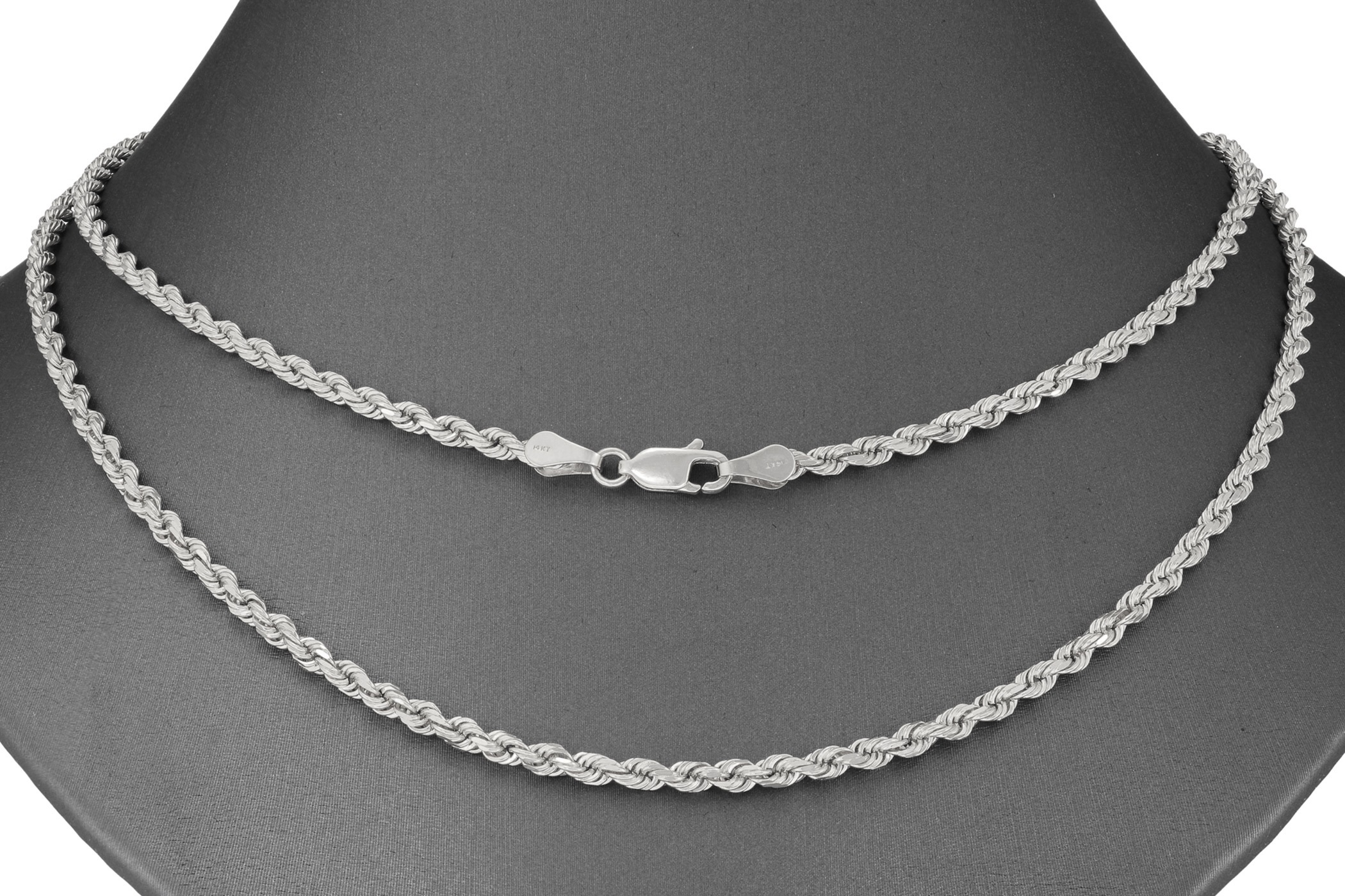 63dc9aaed918 Solid 14K White Gold 3mm Men or Womens Diamond Cut Rope Chain ...