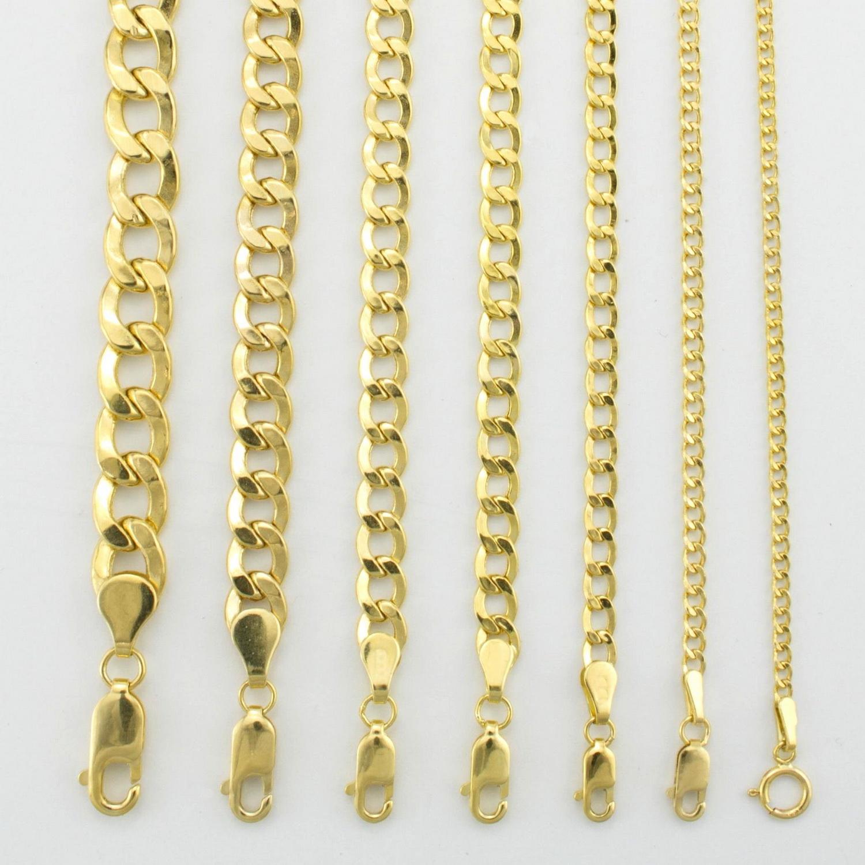d395be88effea Details about 14K Yellow Gold 2mm-7.5mm Curb Cuban Chain Link Pendant  Necklace Bracelet 7
