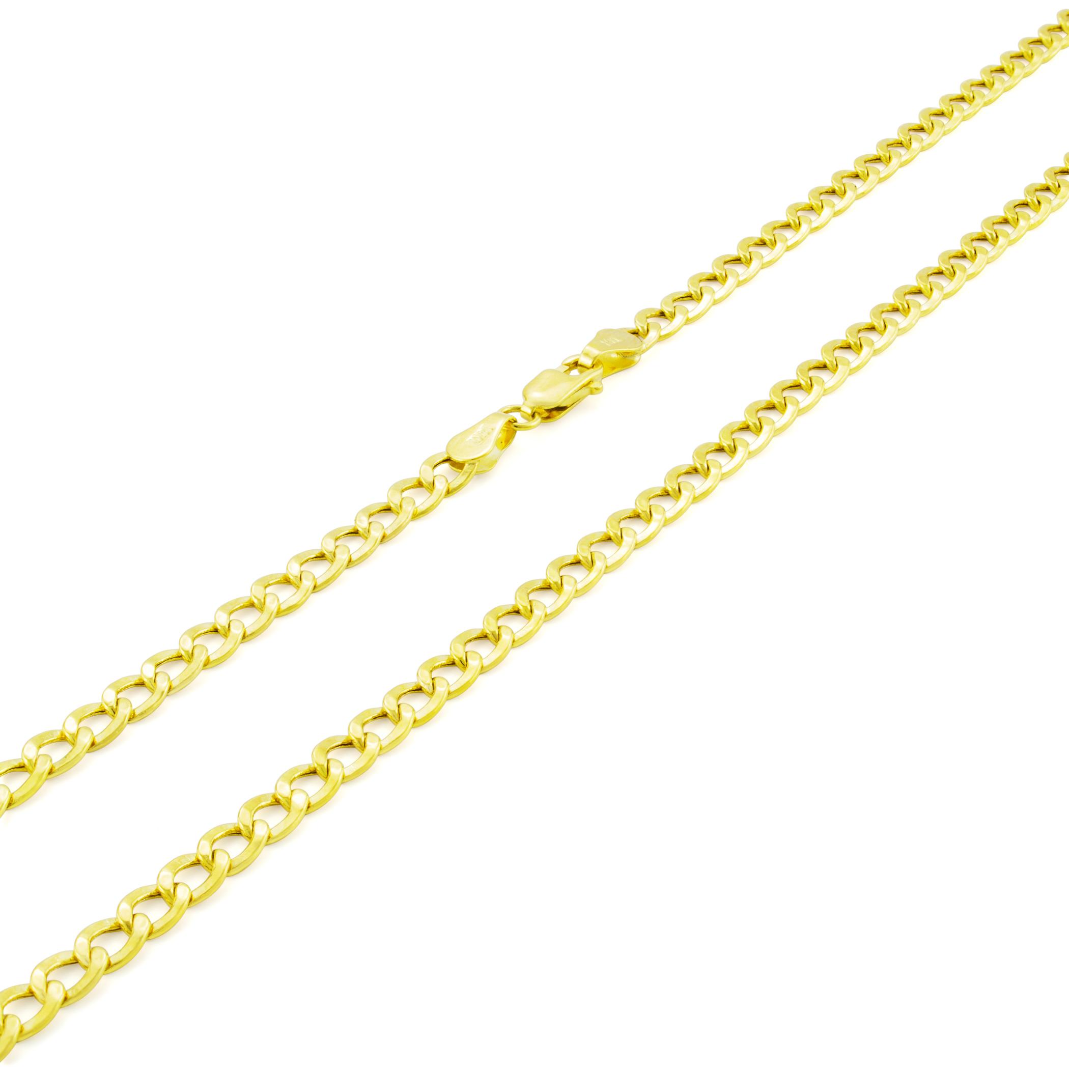 14K-Yellow-Gold-3-5mm-Women-Curb-Cuban-Chain-Link-Bracelet-Anklet-Chain-7-034-8-034-9-034 thumbnail 17