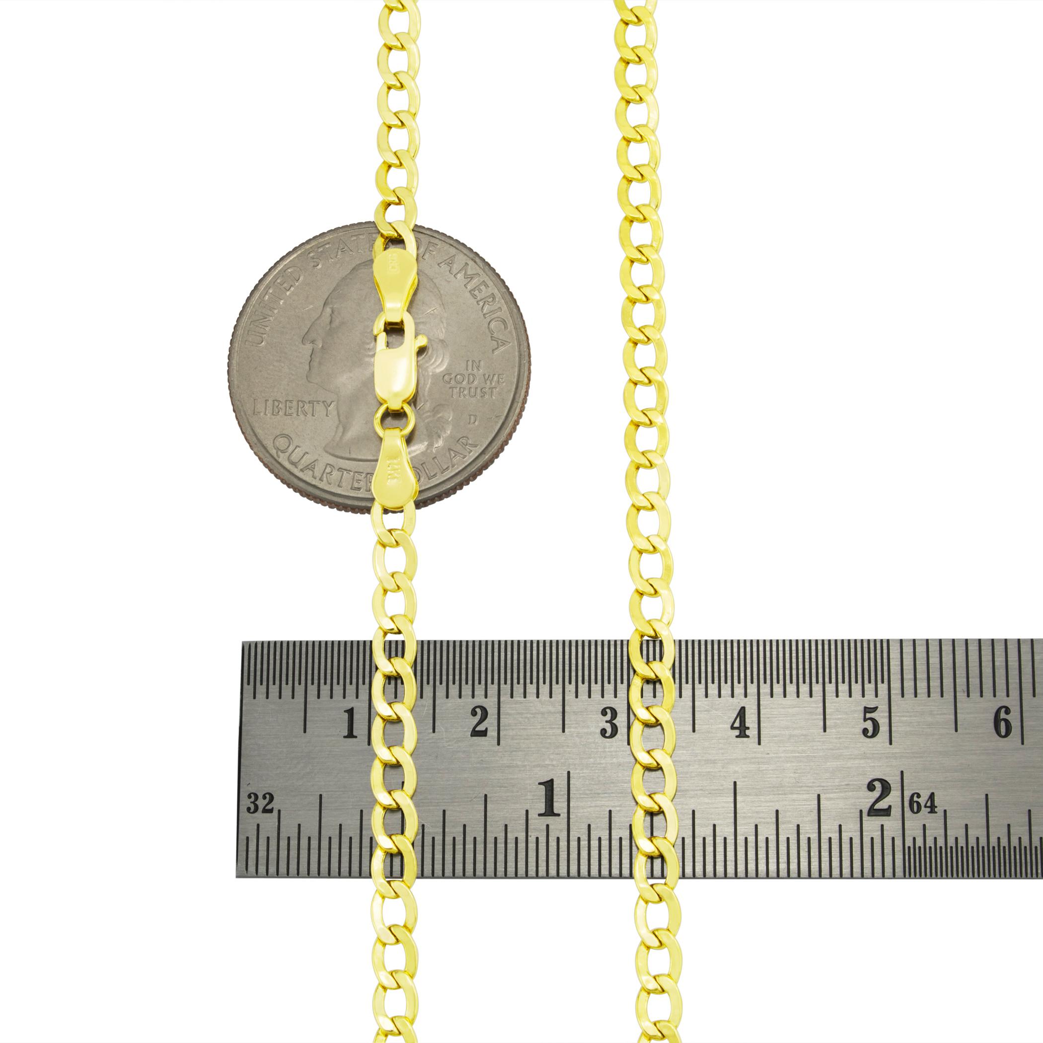 14K-Real-Yellow-Gold-3-5mm-6-5mm-Cuban-Curb-Chain-Link-Bracelet-Men-Women-7-034-9-034 thumbnail 12