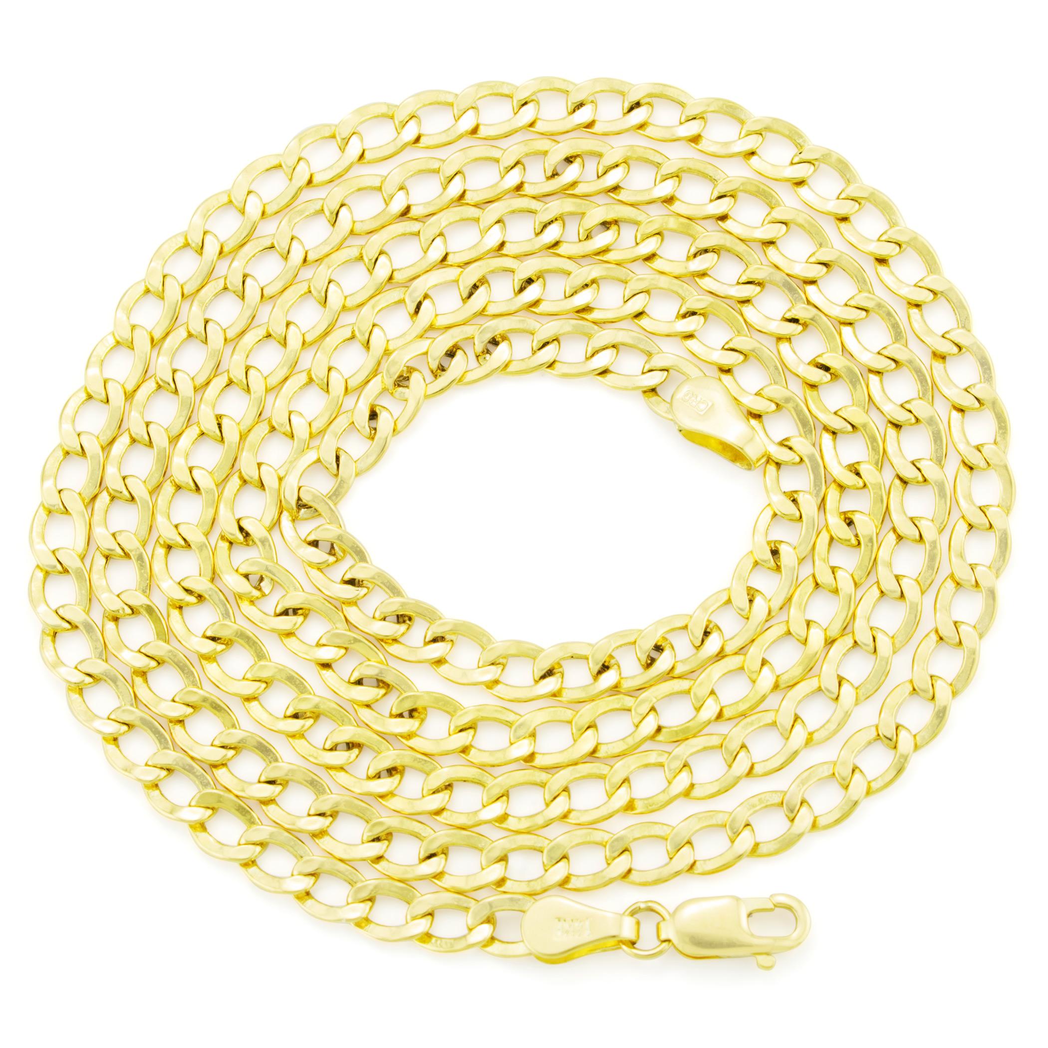 14K-Yellow-Gold-3-5mm-Women-Curb-Cuban-Chain-Link-Bracelet-Anklet-Chain-7-034-8-034-9-034 thumbnail 20