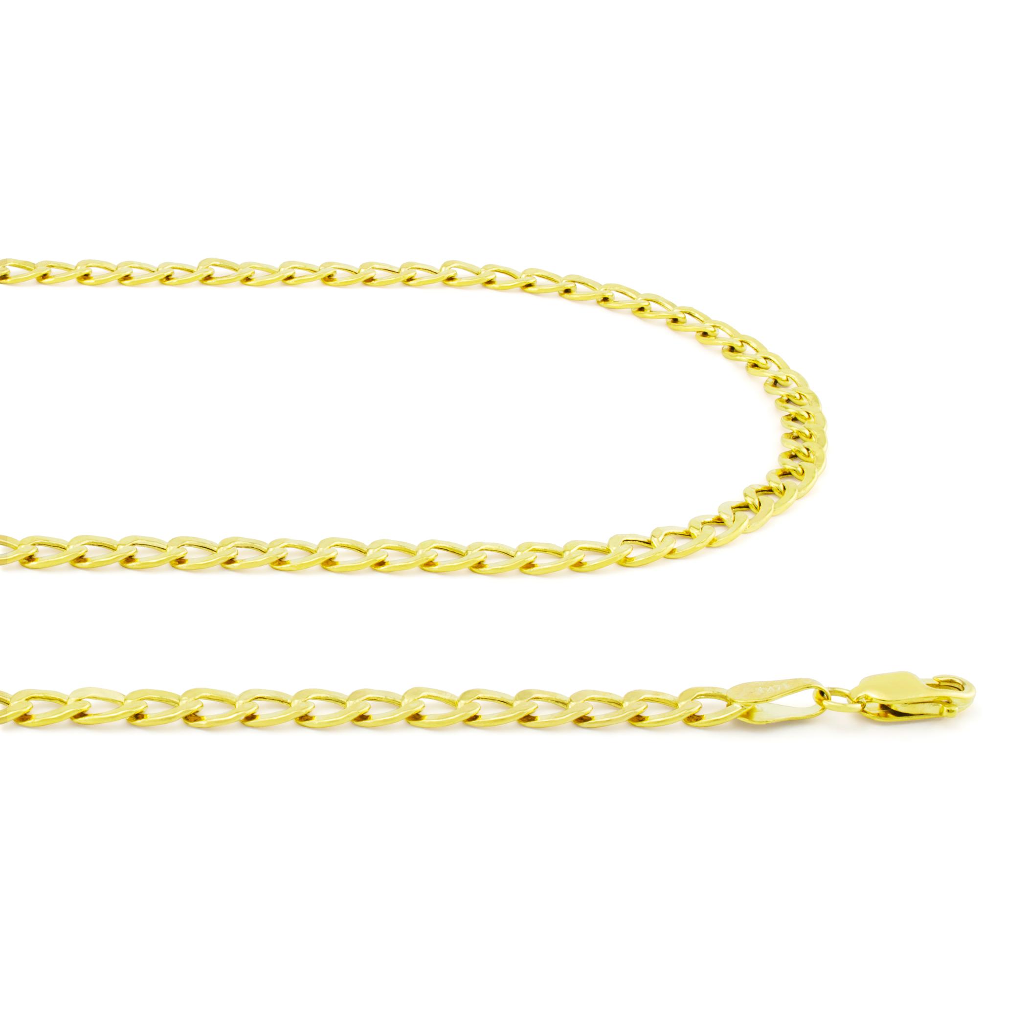 14K-Yellow-Gold-3-5mm-Women-Curb-Cuban-Chain-Link-Bracelet-Anklet-Chain-7-034-8-034-9-034 thumbnail 22