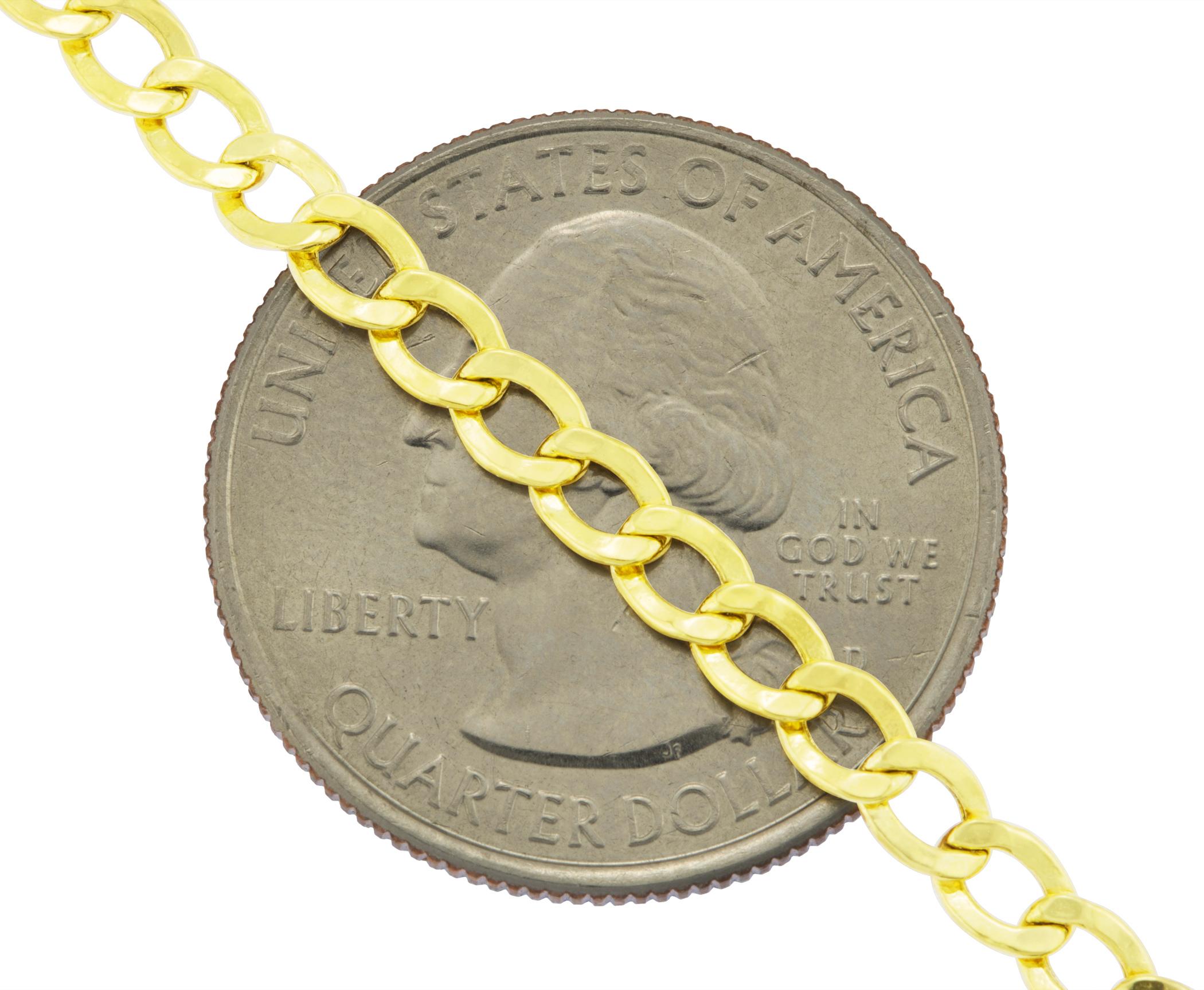 14K-Yellow-Gold-3-5mm-Women-Curb-Cuban-Chain-Link-Bracelet-Anklet-Chain-7-034-8-034-9-034 thumbnail 23