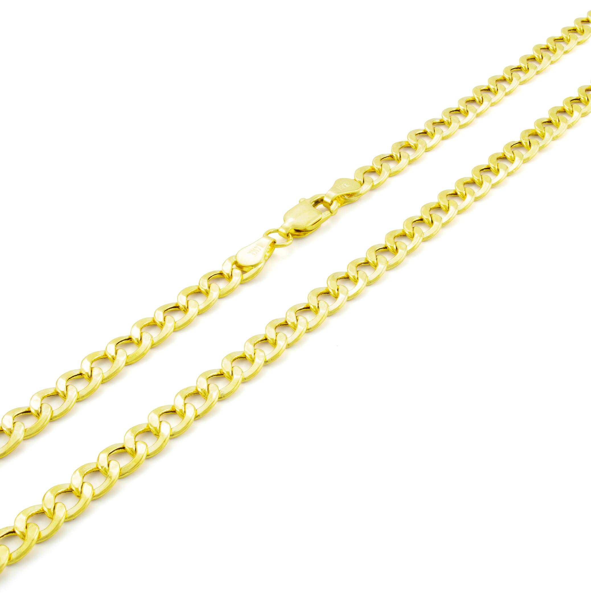 Real-14K-Yellow-Gold-4-5mm-Cuban-Curb-Chain-Link-Bracelet-Anklet-Chain-7-034-8-034-9-034 thumbnail 17