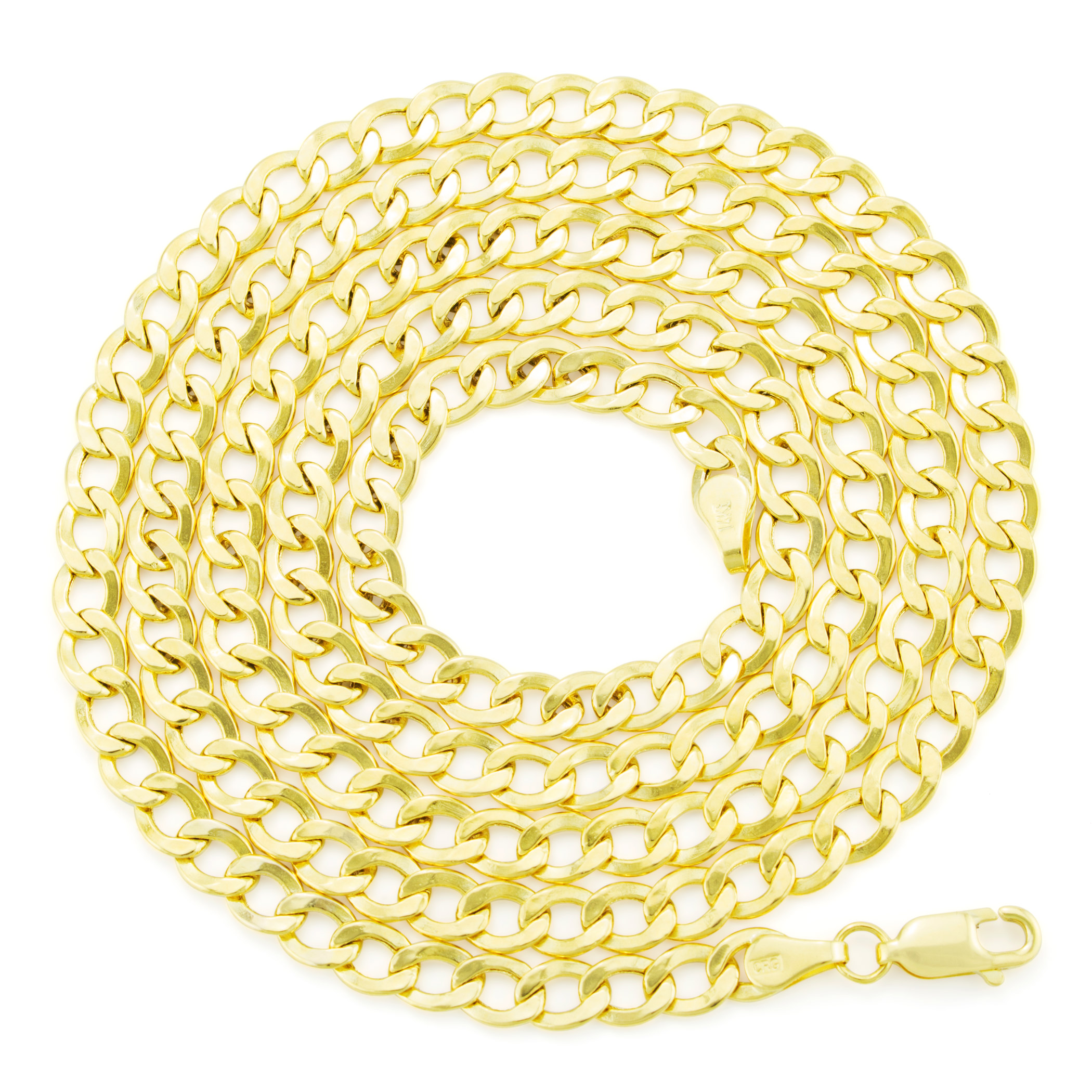 Real-14K-Yellow-Gold-4-5mm-Cuban-Curb-Chain-Link-Bracelet-Anklet-Chain-7-034-8-034-9-034 thumbnail 20