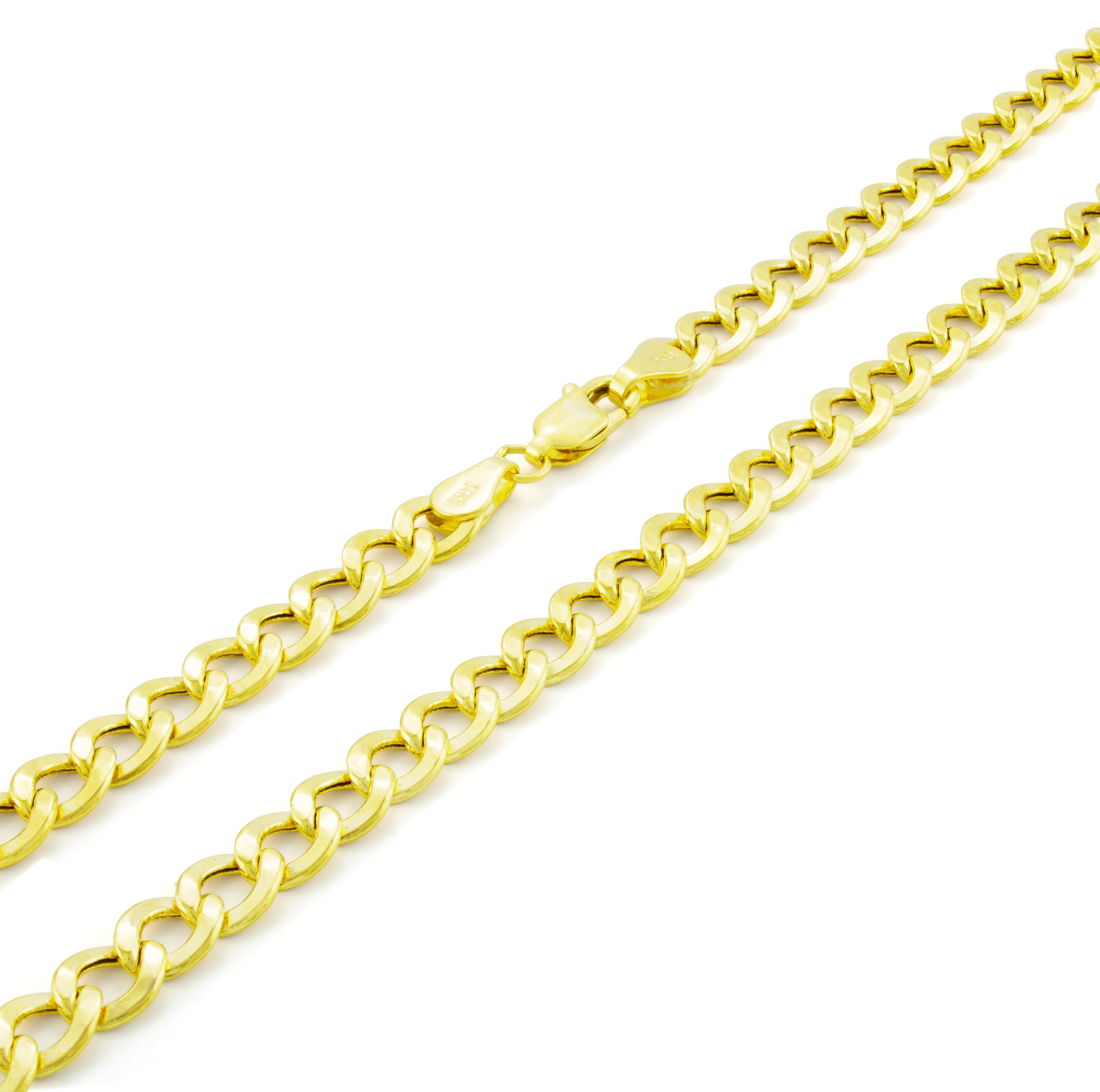 14K-Yellow-Gold-5-5mm-Italian-Curb-Cuban-Link-Chain-Bracelet-Mens-Women-7-034-8-034-9-034 thumbnail 16