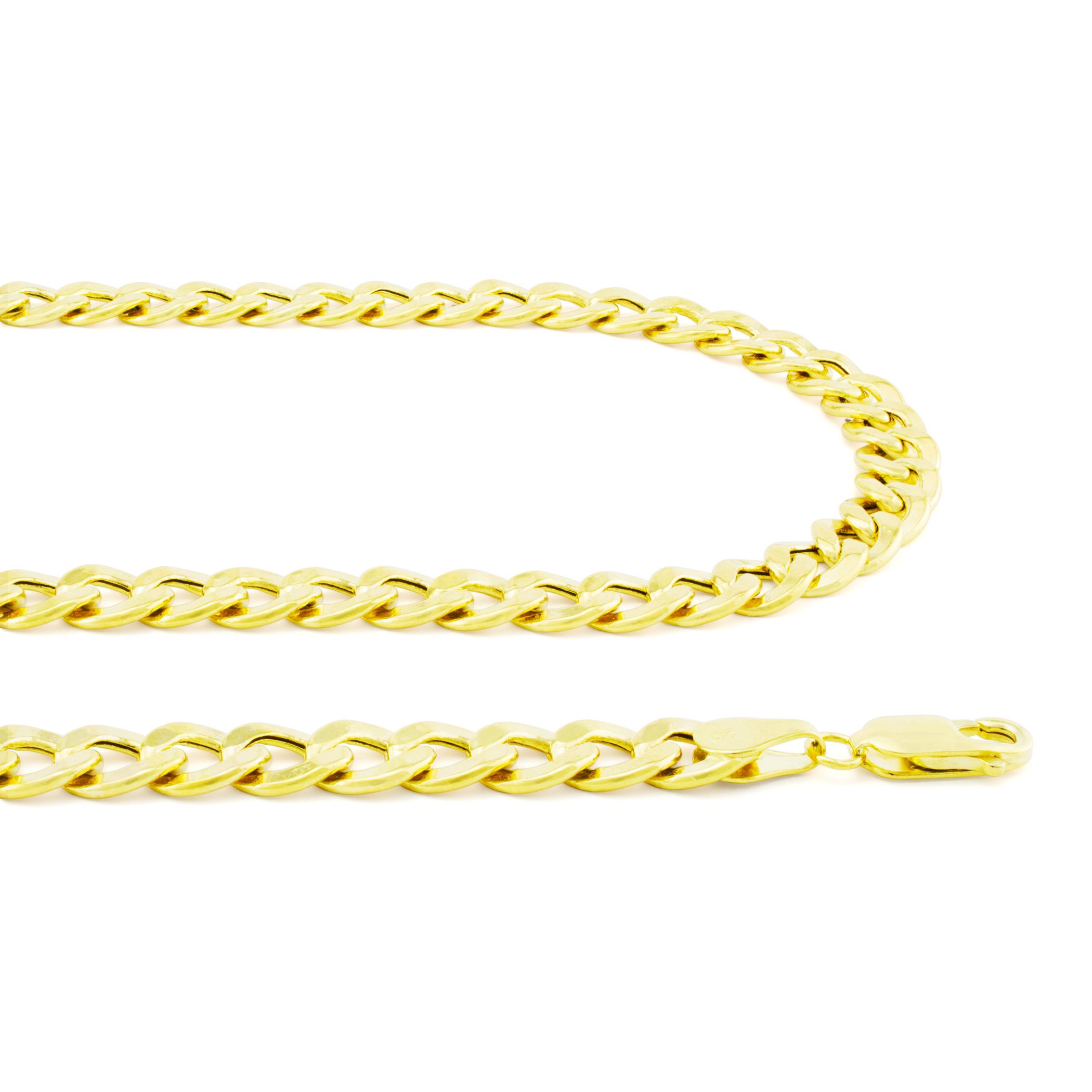 14K-Yellow-Gold-5-5mm-Italian-Curb-Cuban-Link-Chain-Bracelet-Mens-Women-7-034-8-034-9-034 thumbnail 21