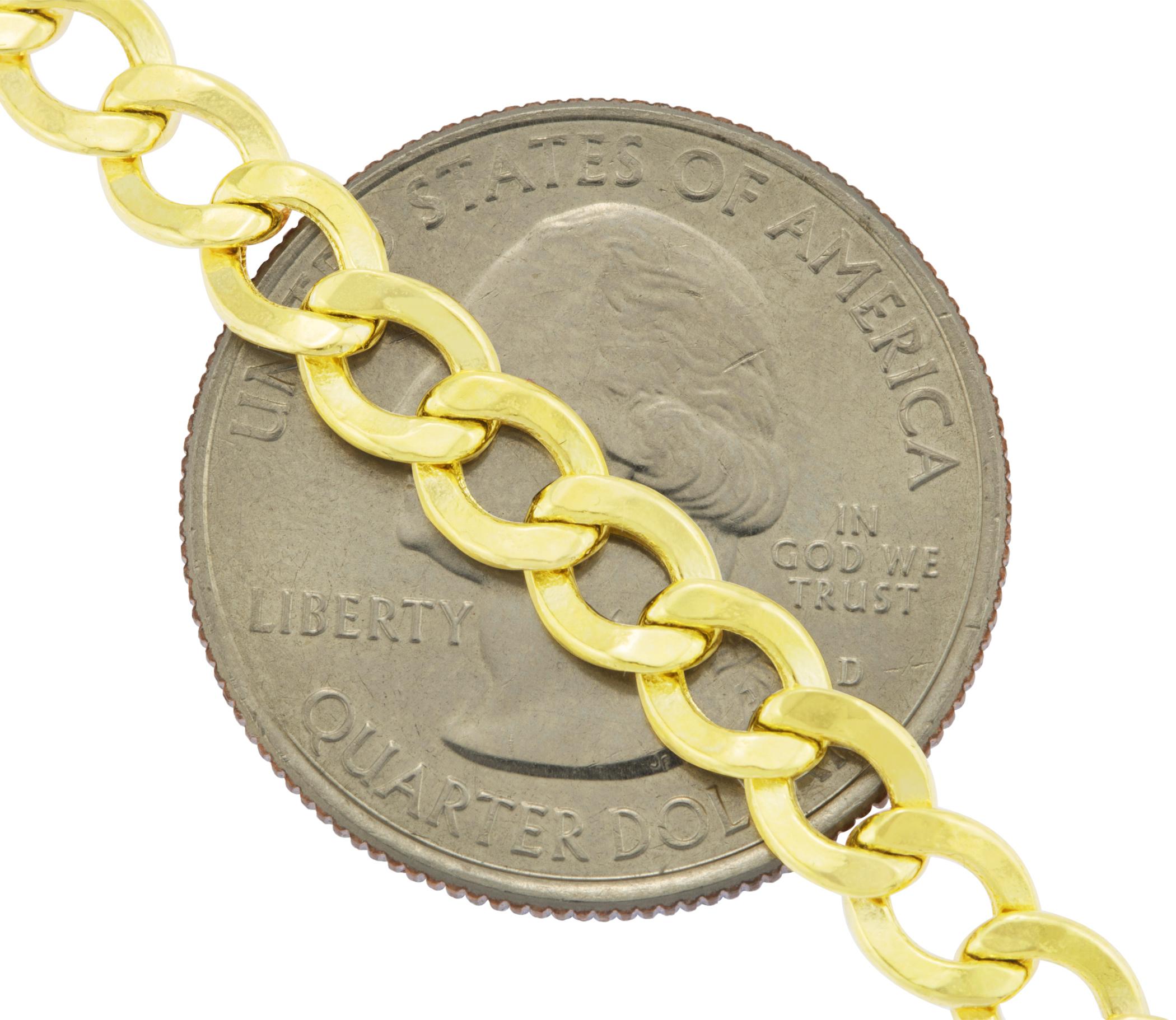 14K-Yellow-Gold-5-5mm-Italian-Curb-Cuban-Link-Chain-Bracelet-Mens-Women-7-034-8-034-9-034 thumbnail 22