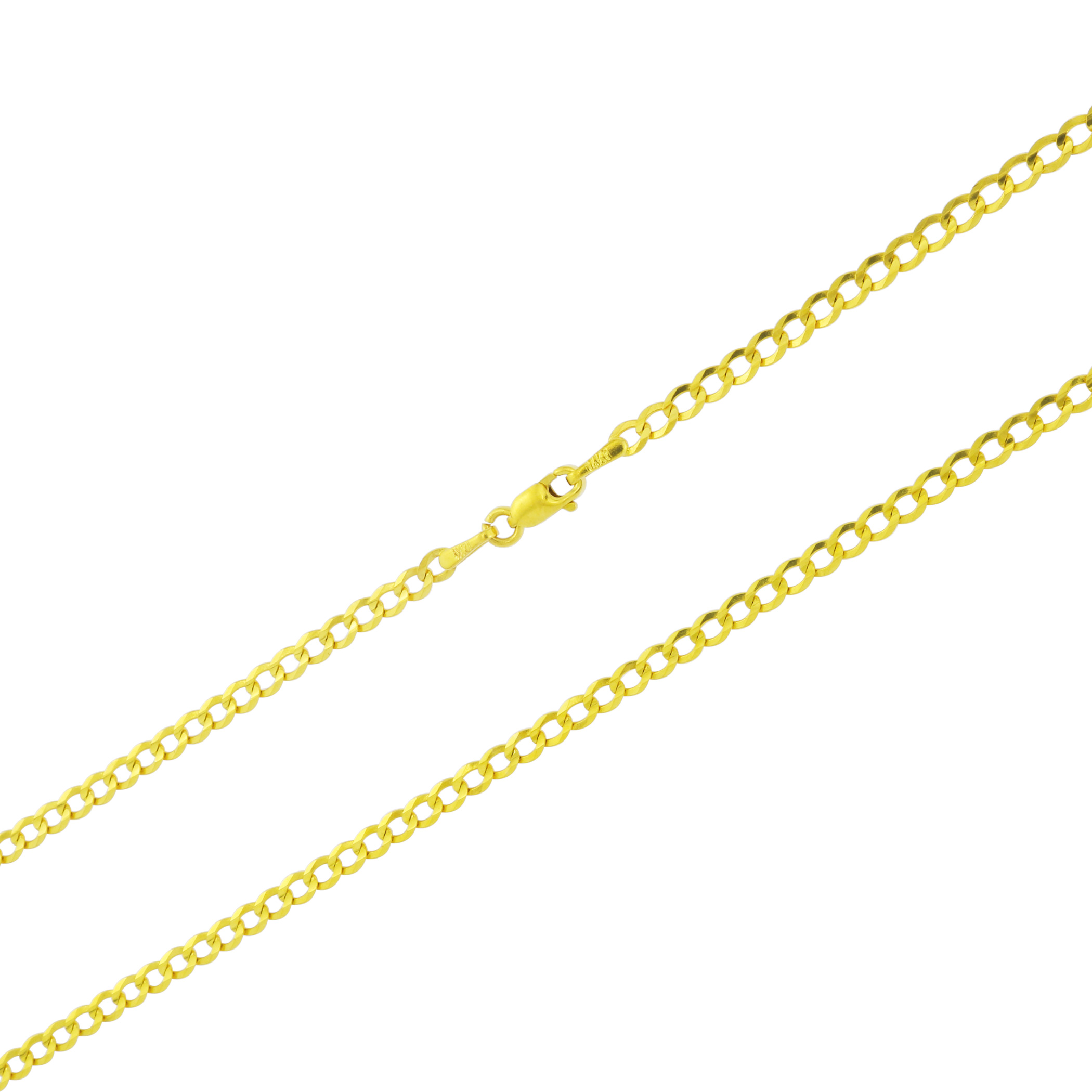 Real-14k-Yellow-Gold-Women-Solid-2-5mm-Curb-Cuban-Chain-Bracelet-or-Anklet-7-034-9-034 thumbnail 17