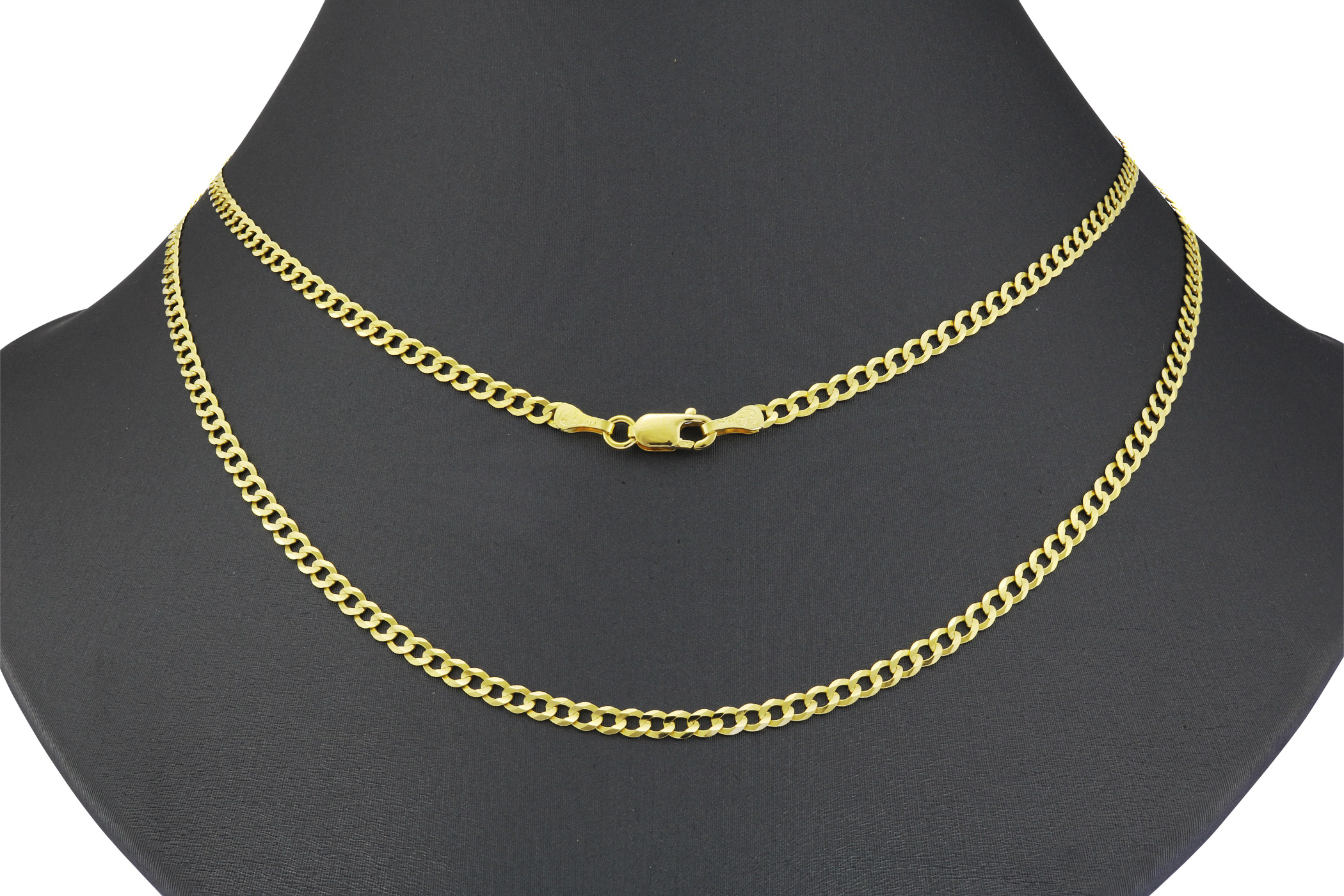 Real-14k-Yellow-Gold-Women-Solid-2-5mm-Curb-Cuban-Chain-Bracelet-or-Anklet-7-034-9-034 thumbnail 21