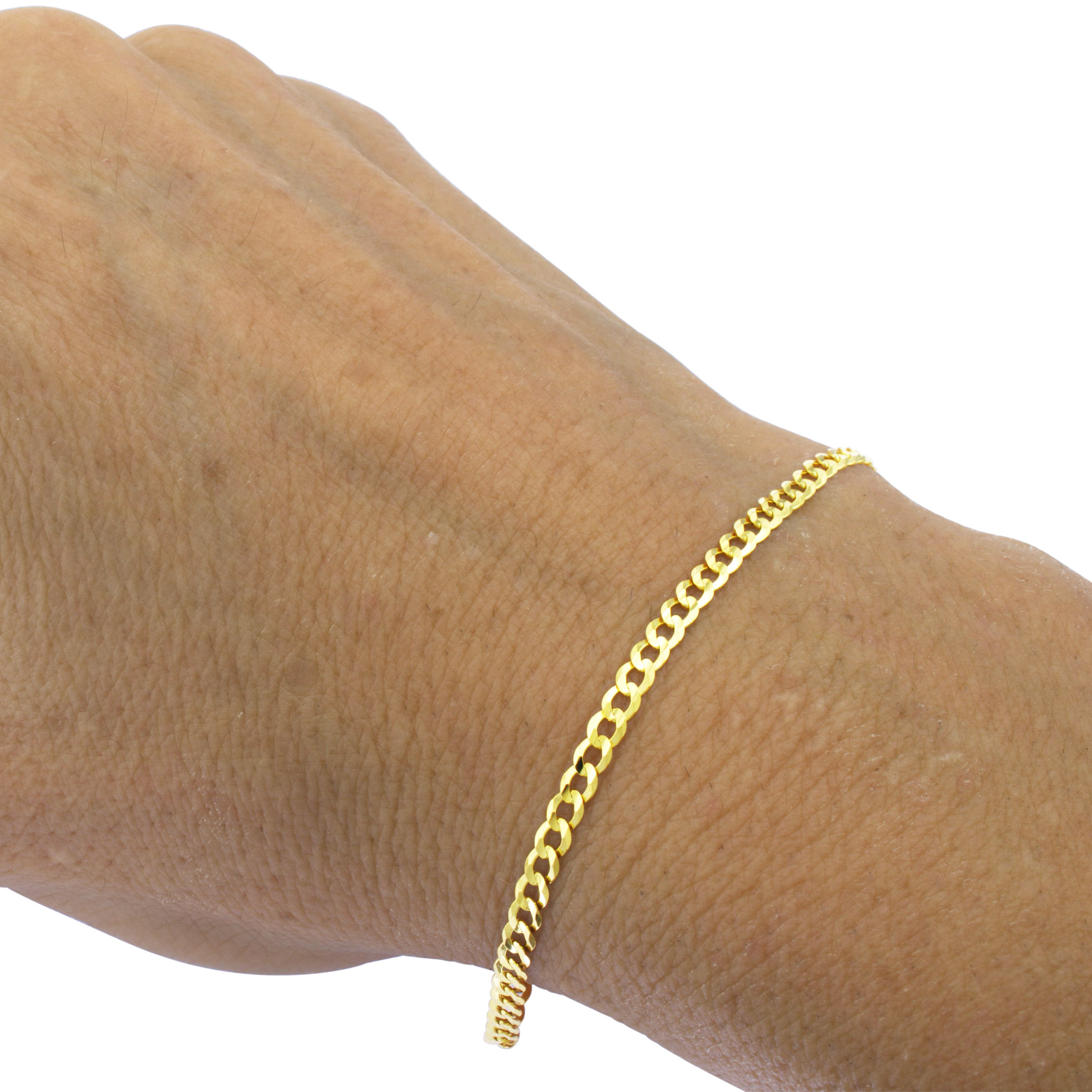 Real-14k-Yellow-Gold-Women-Solid-2-5mm-Curb-Cuban-Chain-Bracelet-or-Anklet-7-034-9-034 thumbnail 14