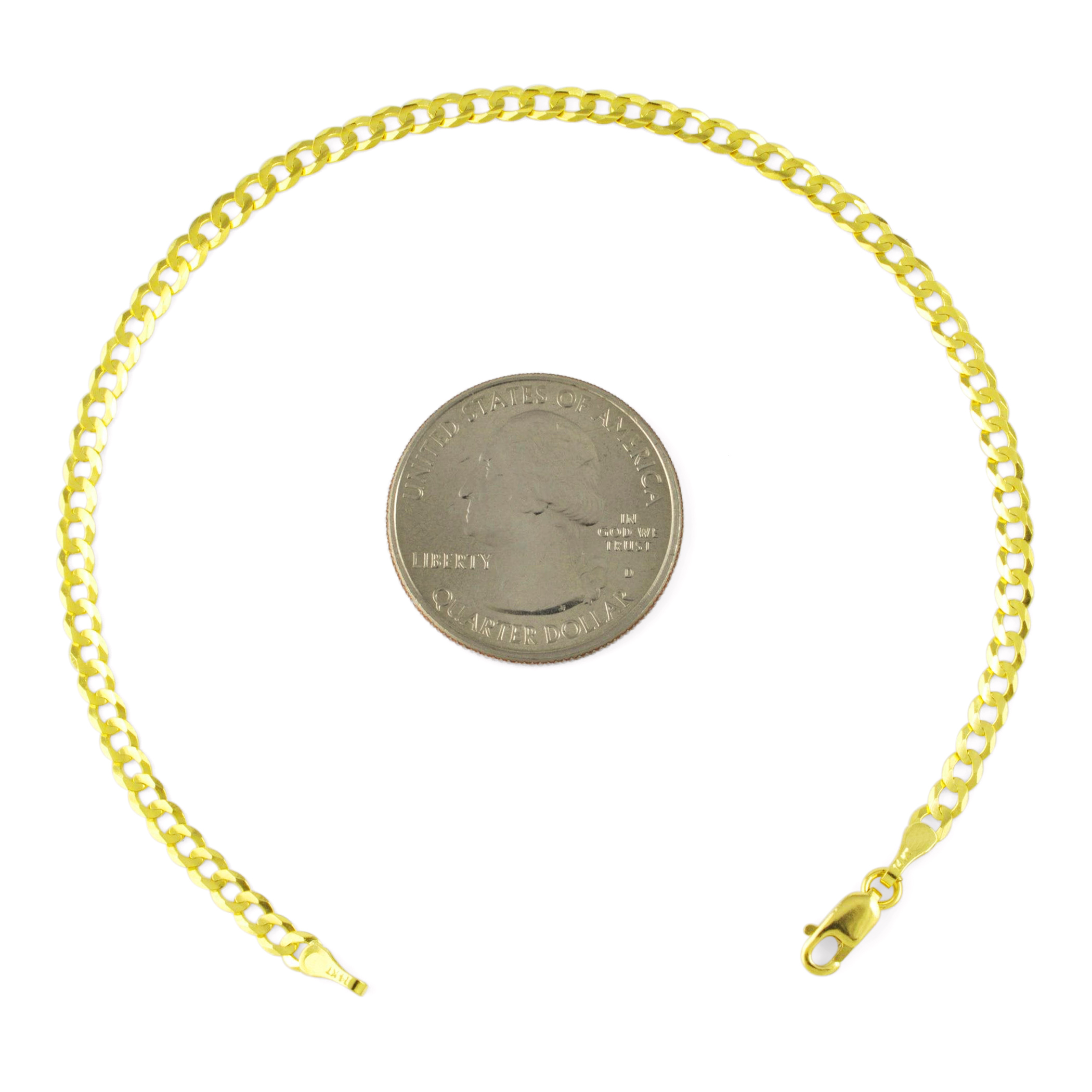 Real-14k-Yellow-Gold-Women-Solid-2-5mm-Curb-Cuban-Chain-Bracelet-or-Anklet-7-034-9-034 thumbnail 15