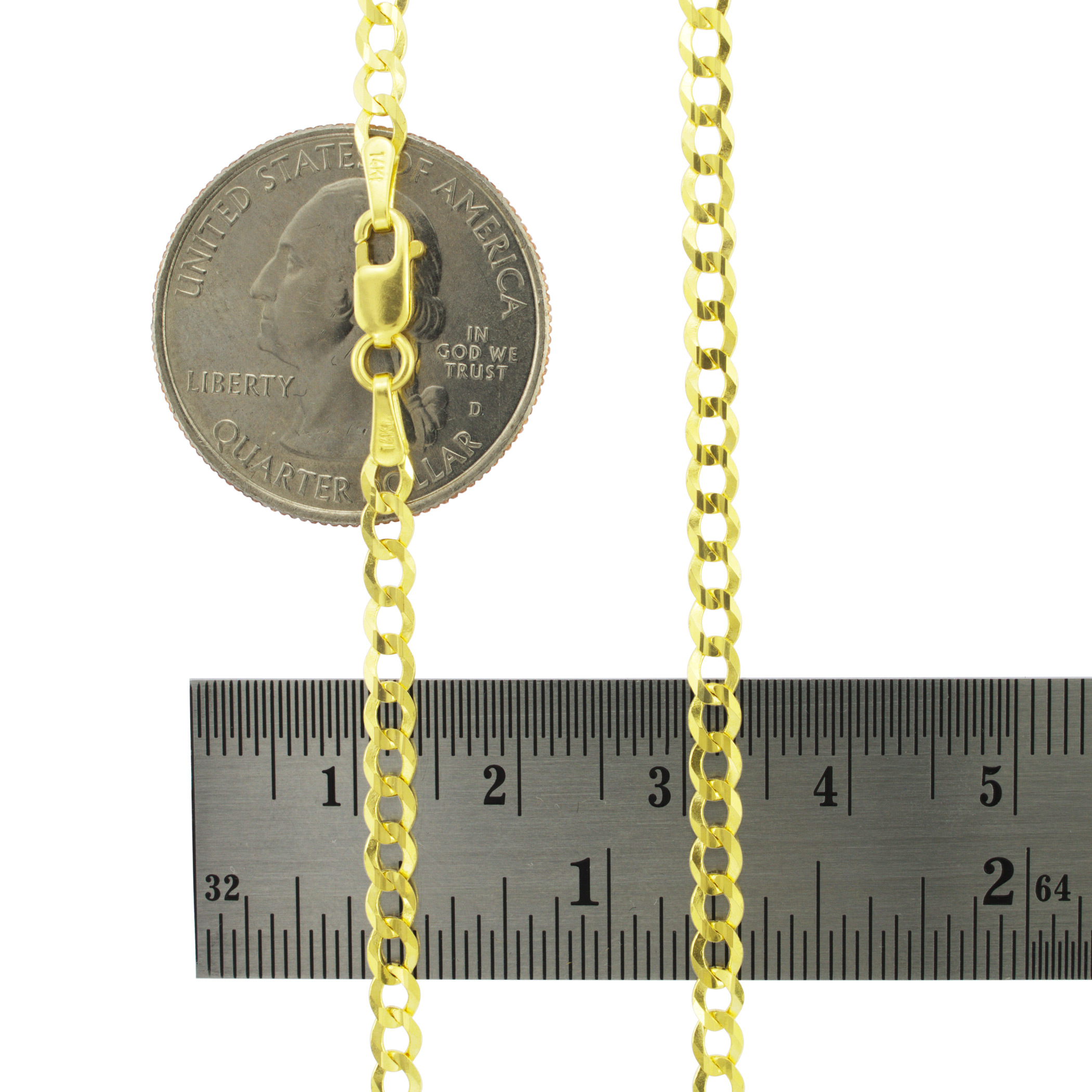 Solid-14k-Yellow-Gold-3mm-Italian-Curb-Cuban-Link-Chain-Pendant-Necklace-16-034-30-034