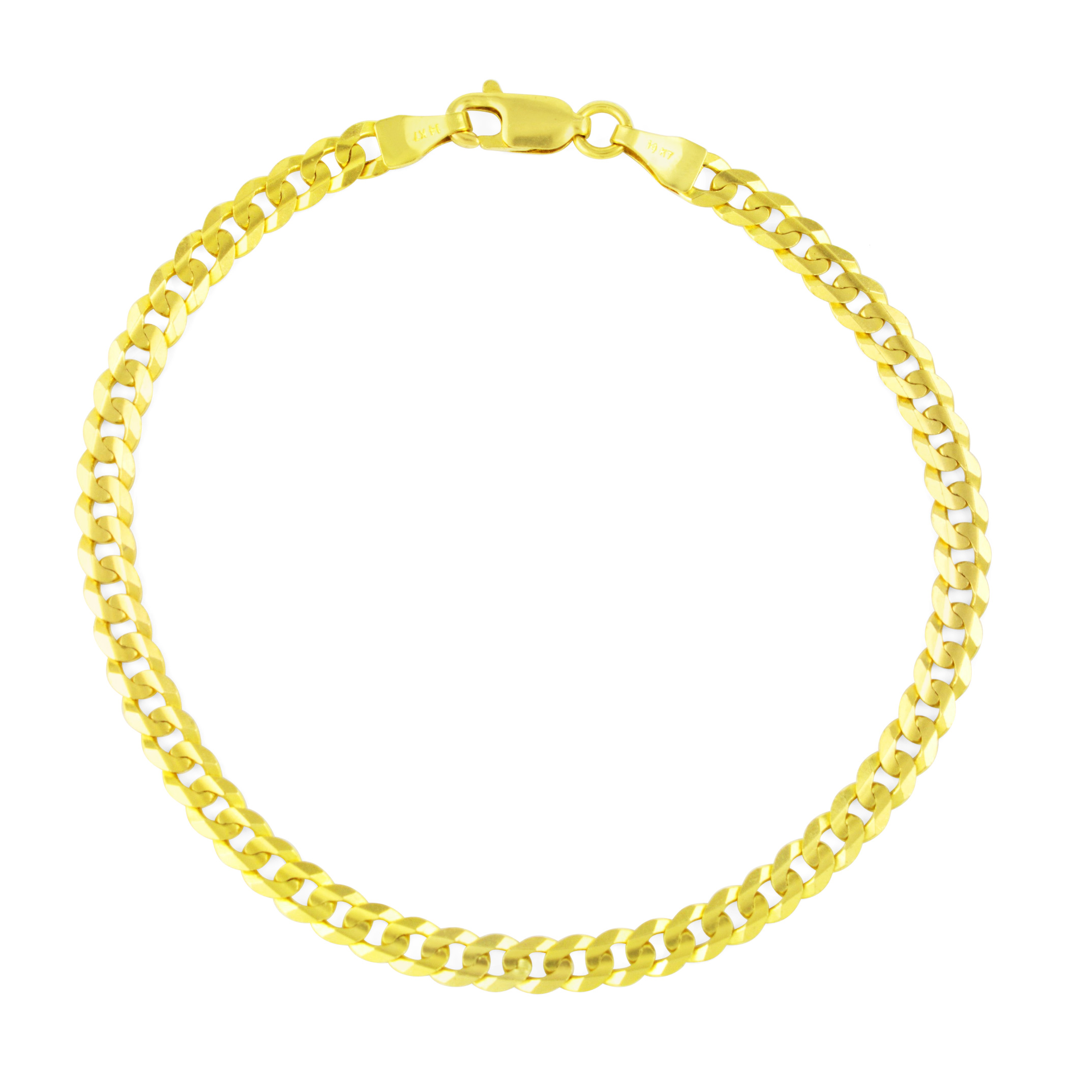 14K-Solid-Yellow-Gold-4mm-Cuban-Curb-Chain-Link-Bracelet-Lobster-Clasp-7-034-8-034-9-034 thumbnail 13