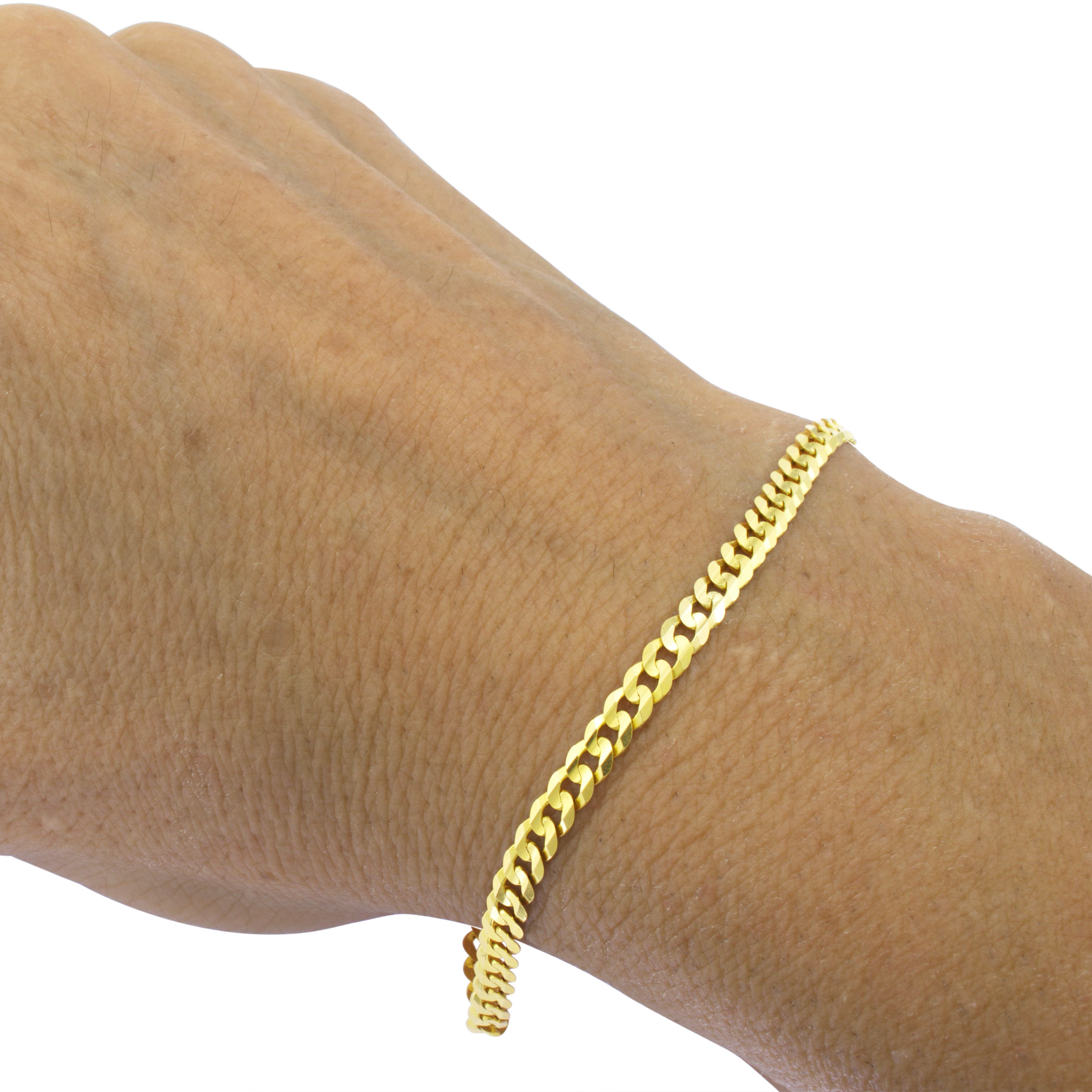 14K-Solid-Yellow-Gold-4mm-Cuban-Curb-Chain-Link-Bracelet-Lobster-Clasp-7-034-8-034-9-034 thumbnail 14