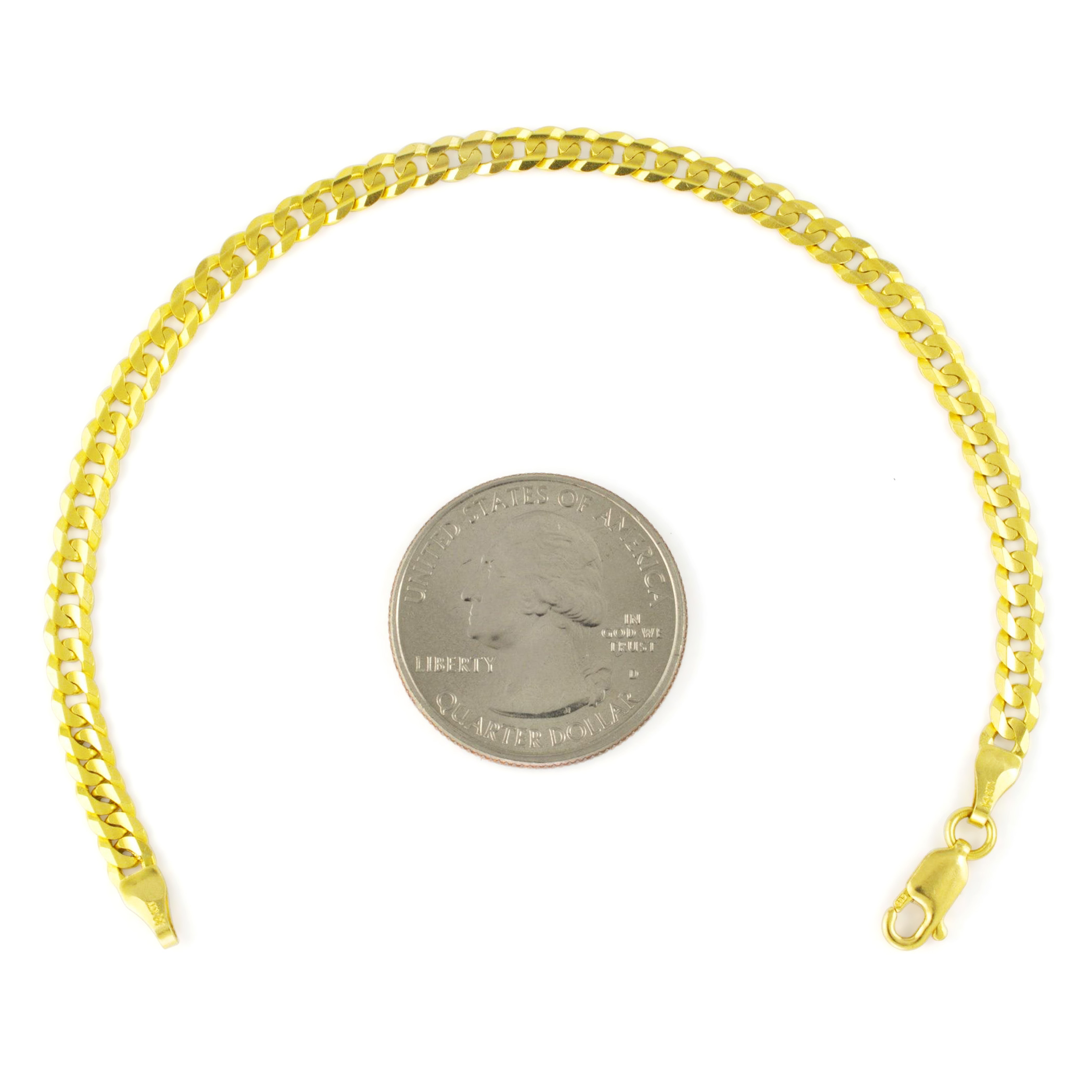 14K-Solid-Yellow-Gold-4mm-Cuban-Curb-Chain-Link-Bracelet-Lobster-Clasp-7-034-8-034-9-034 thumbnail 15