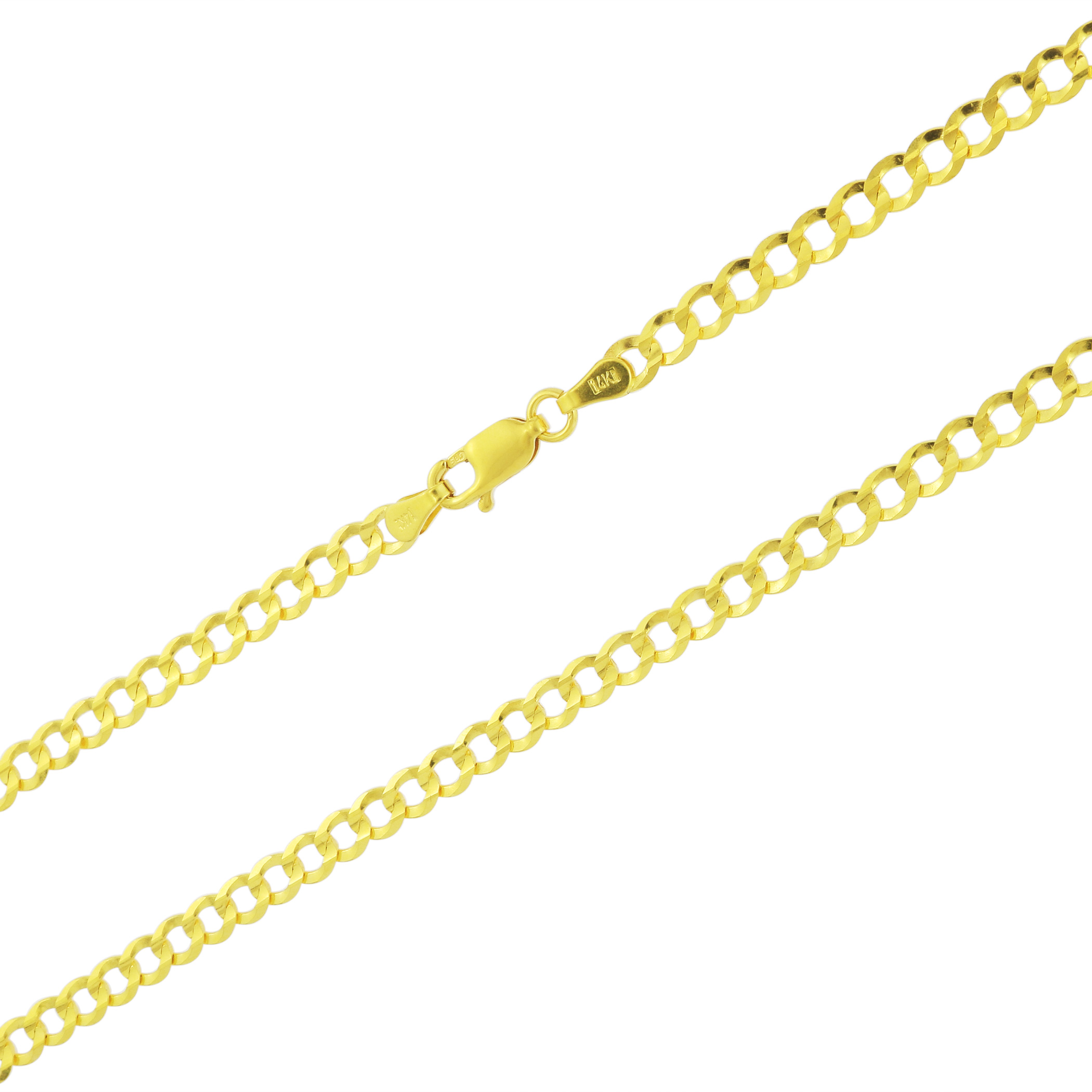 14K-Solid-Yellow-Gold-4mm-Cuban-Curb-Chain-Link-Bracelet-Lobster-Clasp-7-034-8-034-9-034 thumbnail 17