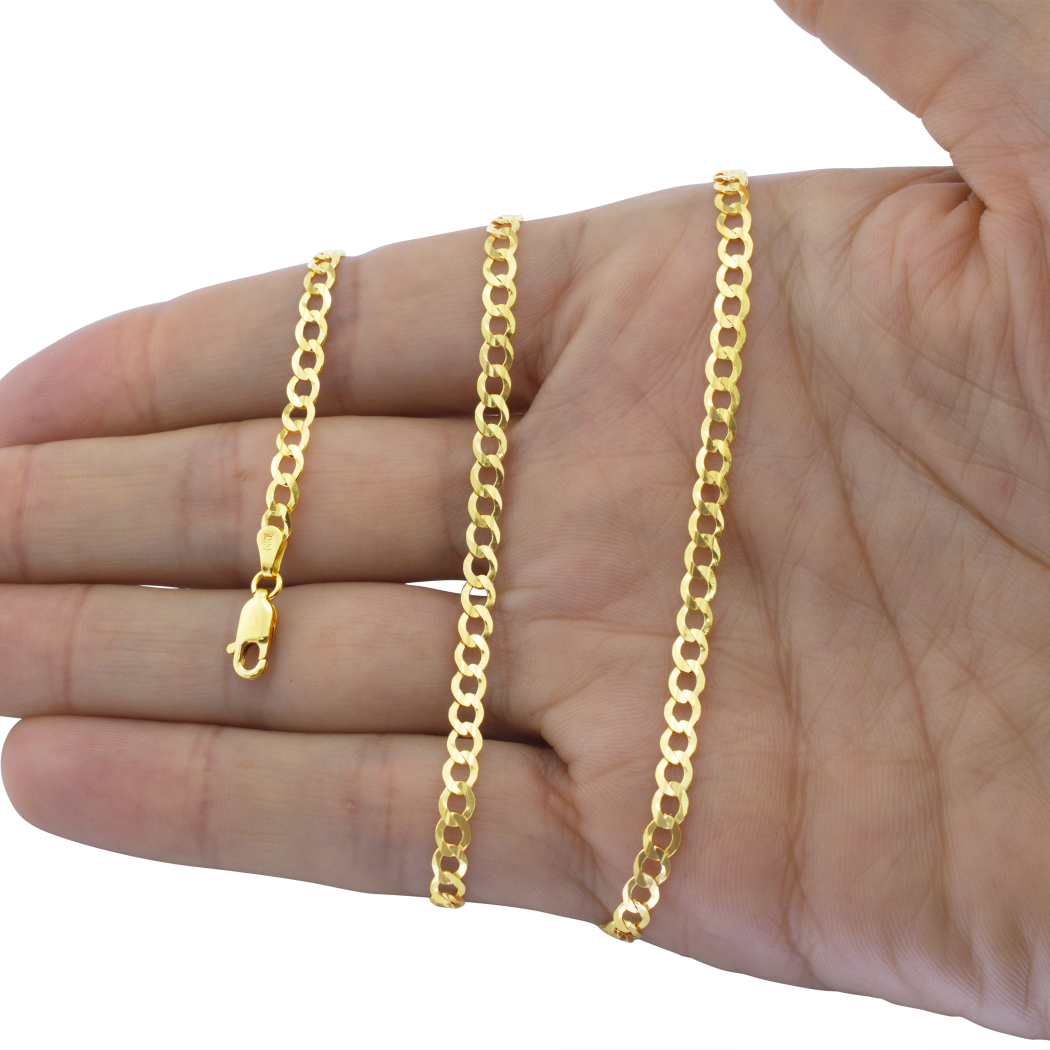 14K-Solid-Yellow-Gold-4mm-Cuban-Curb-Chain-Link-Bracelet-Lobster-Clasp-7-034-8-034-9-034 thumbnail 18