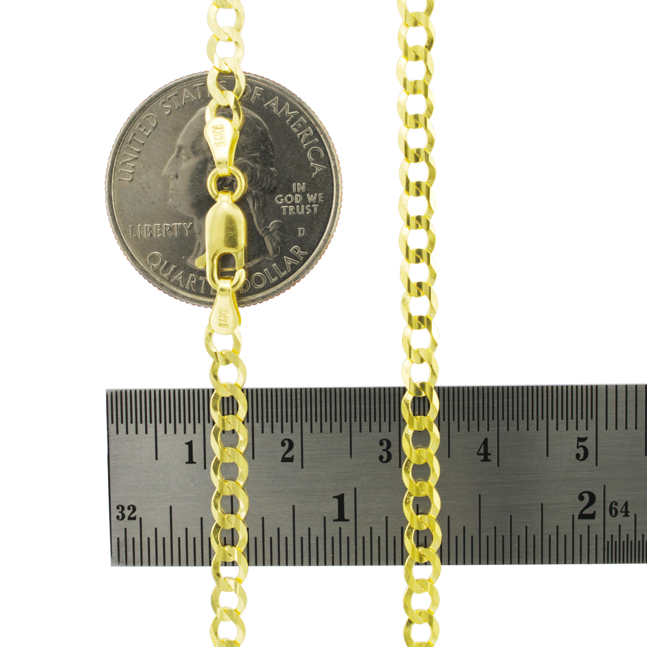 14K-Solid-Yellow-Gold-4mm-Cuban-Curb-Chain-Link-Bracelet-Lobster-Clasp-7-034-8-034-9-034 thumbnail 19