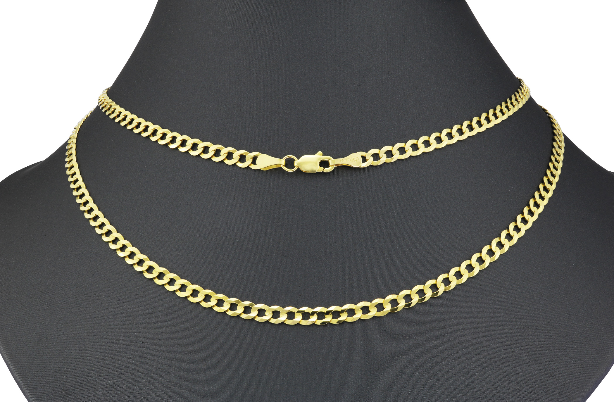 14K-Solid-Yellow-Gold-4mm-Cuban-Curb-Chain-Link-Bracelet-Lobster-Clasp-7-034-8-034-9-034 thumbnail 21