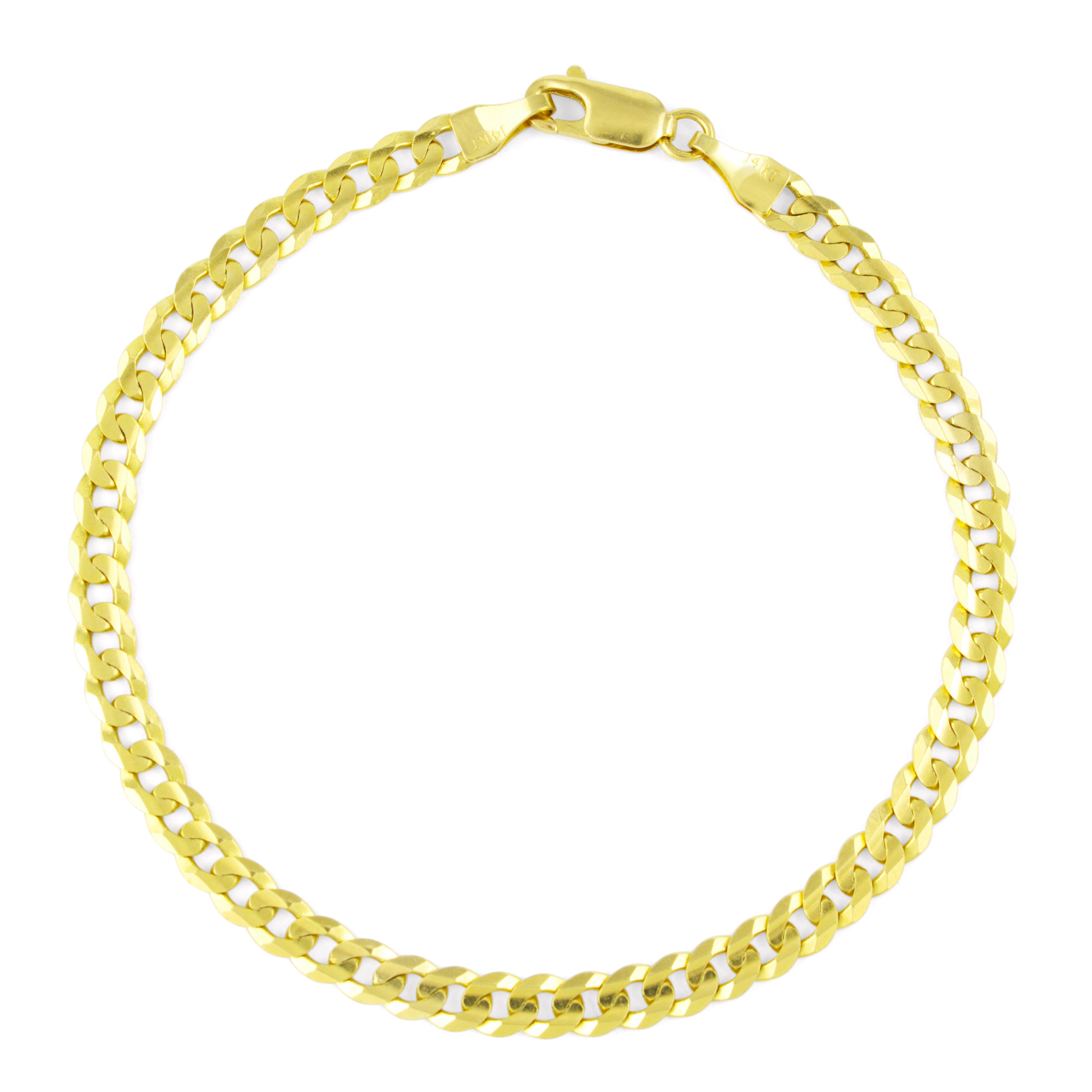 Real-14K-Yellow-Gold-4-5mm-Cuban-Curb-Chain-Link-Bracelet-Anklet-Chain-7-034-8-034-9-034 thumbnail 13