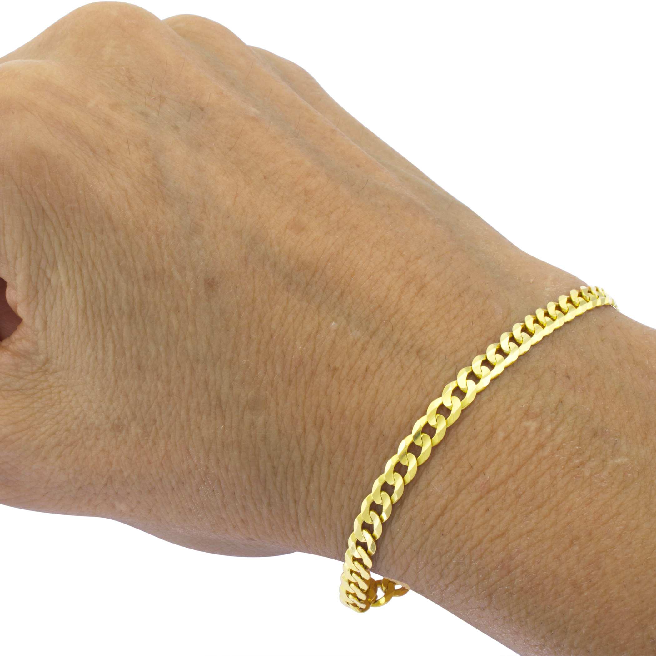 Real-14K-Yellow-Gold-4-5mm-Cuban-Curb-Chain-Link-Bracelet-Anklet-Chain-7-034-8-034-9-034 thumbnail 14