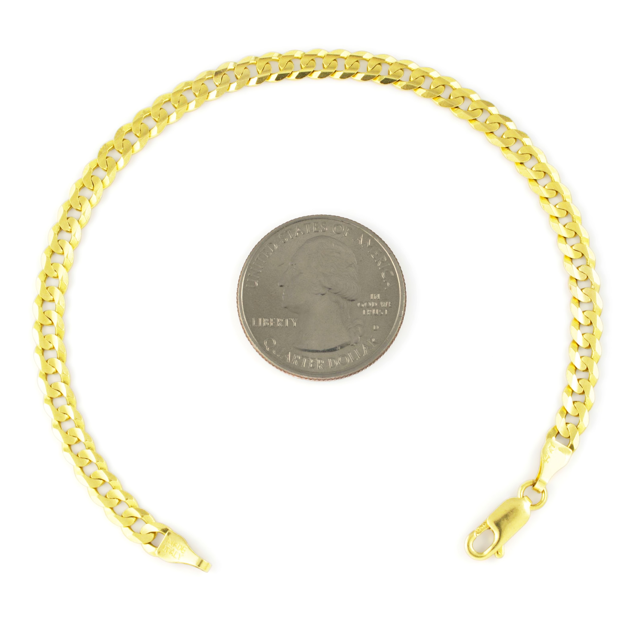 Real-14K-Yellow-Gold-4-5mm-Cuban-Curb-Chain-Link-Bracelet-Anklet-Chain-7-034-8-034-9-034 thumbnail 15