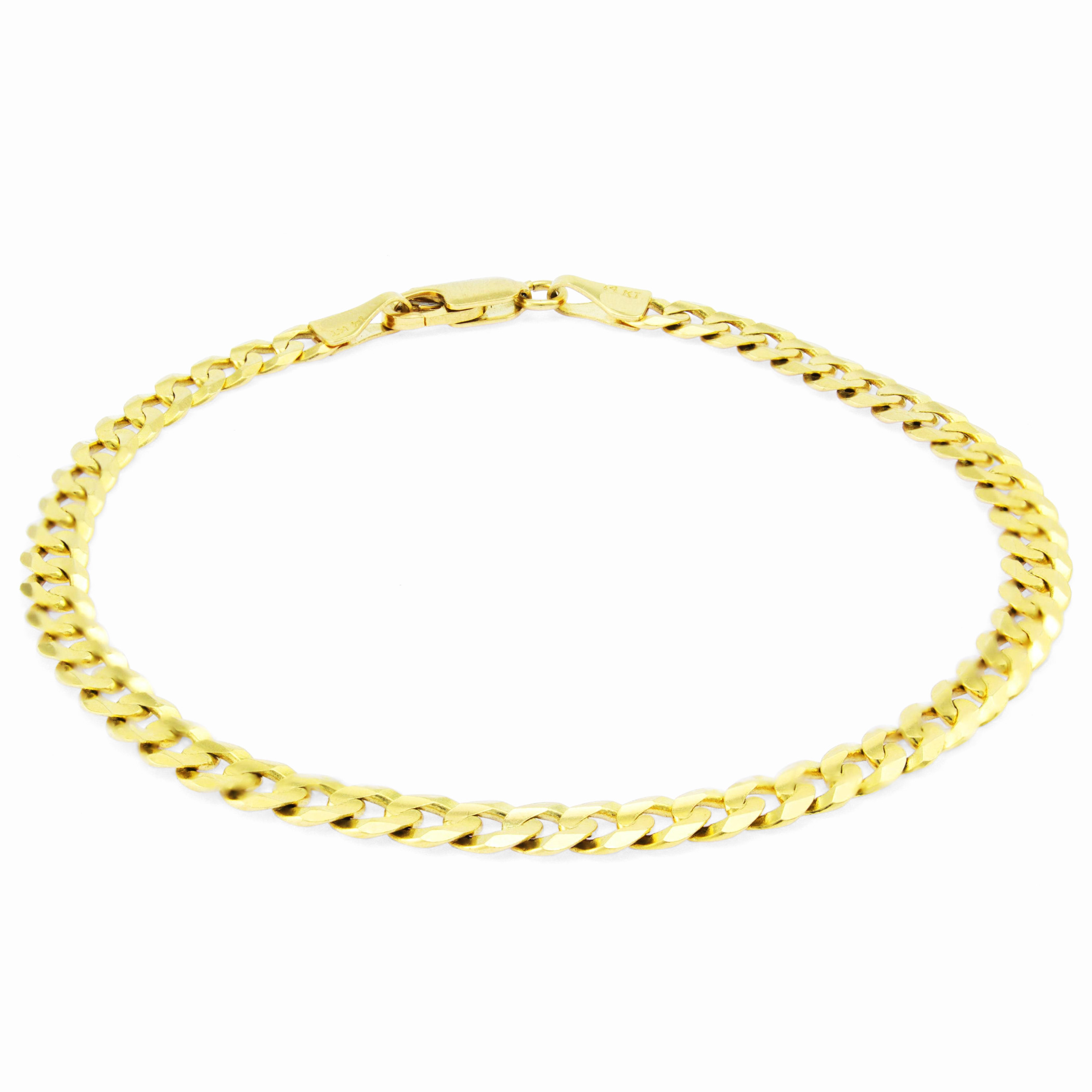 Real-14K-Yellow-Gold-4-5mm-Cuban-Curb-Chain-Link-Bracelet-Anklet-Chain-7-034-8-034-9-034 thumbnail 16