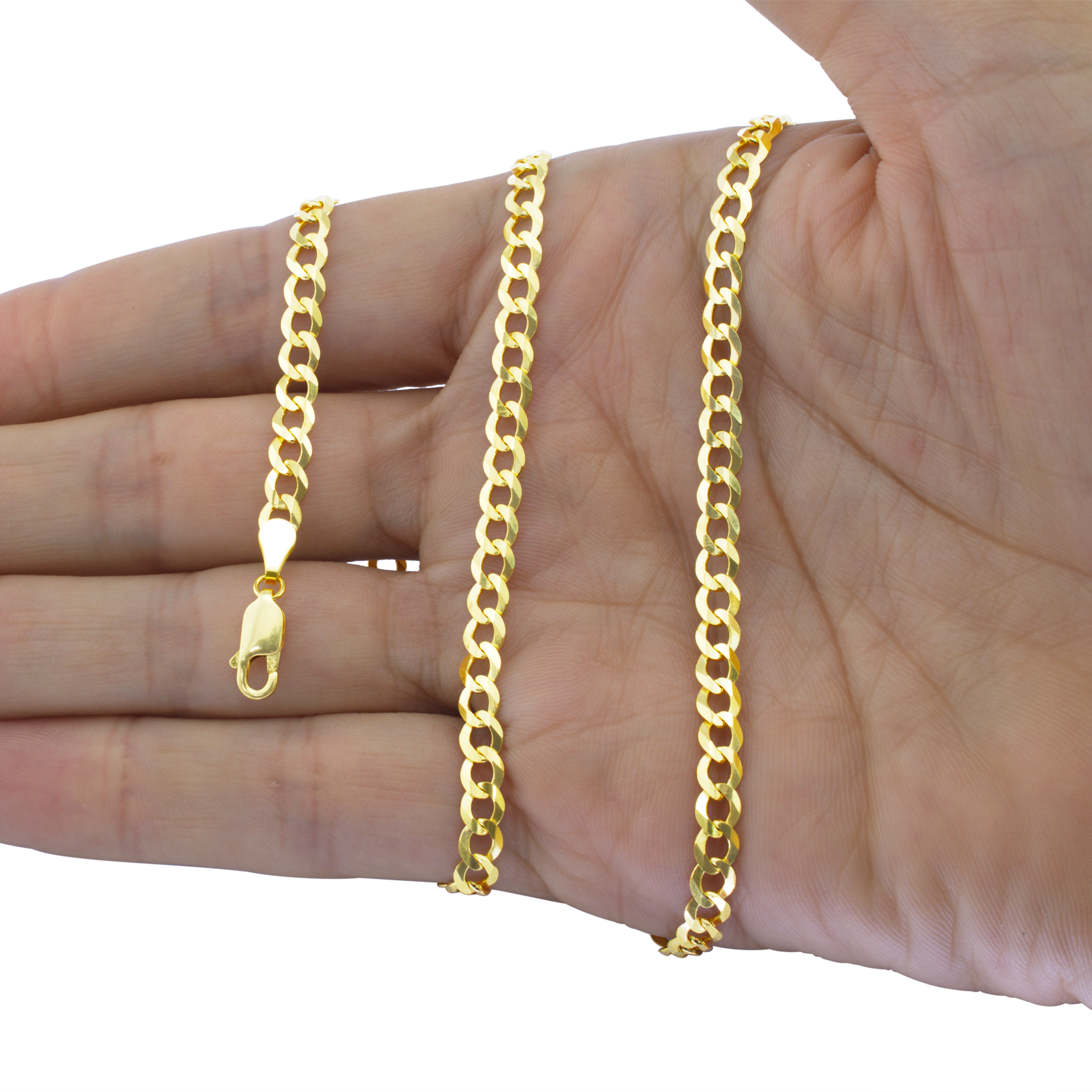 Solid-14K-Yellow-Gold-2-5mm-12mm-Cuban-Curb-Chain-Link-Bracelet-Men-Women-7-034-9-034 thumbnail 19
