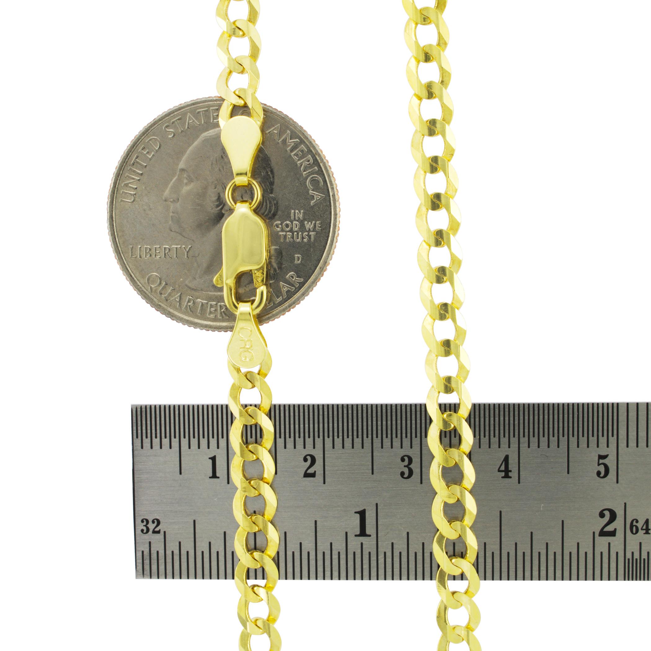 Solid-14K-Yellow-Gold-2-5mm-12mm-Cuban-Curb-Chain-Link-Bracelet-Men-Women-7-034-9-034 thumbnail 20