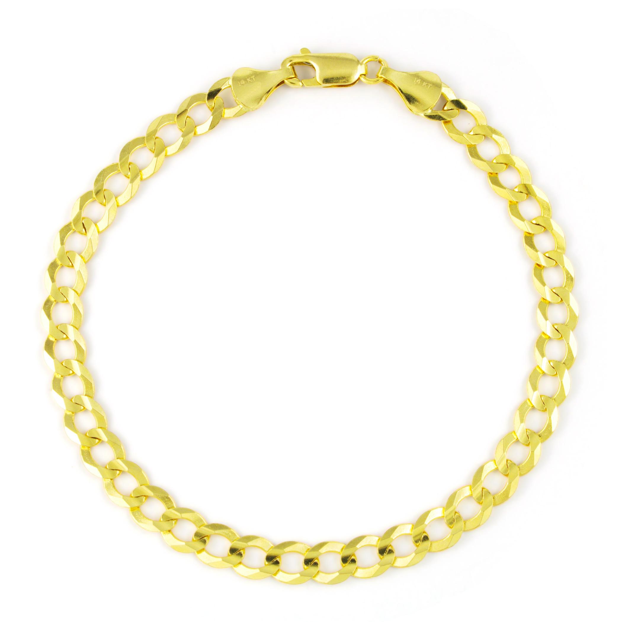 14K-Yellow-Gold-5-5mm-Italian-Curb-Cuban-Link-Chain-Bracelet-Mens-Women-7-034-8-034-9-034 thumbnail 12
